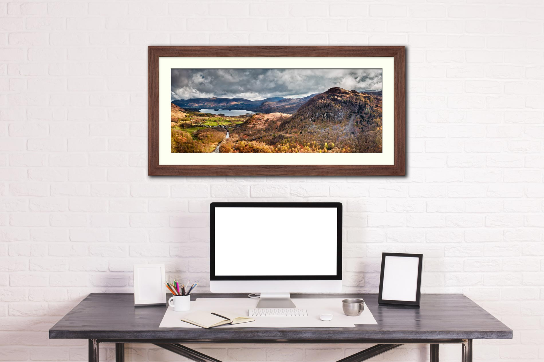 Kings How and Derwent Water - Framed Print with Mount on Wall