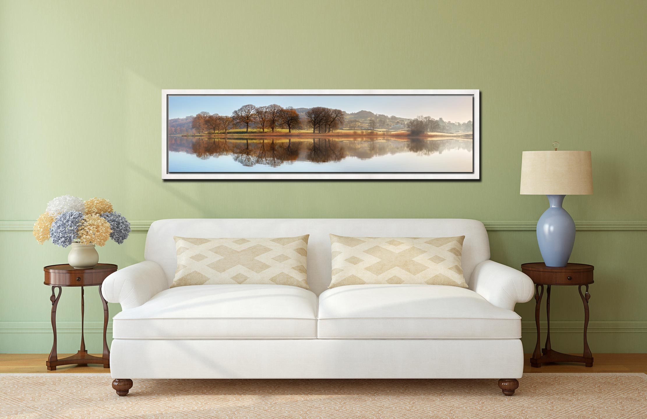 Misty Morning at Esthwaite Water - White Maple floater frame with acrylic glazing on Wall