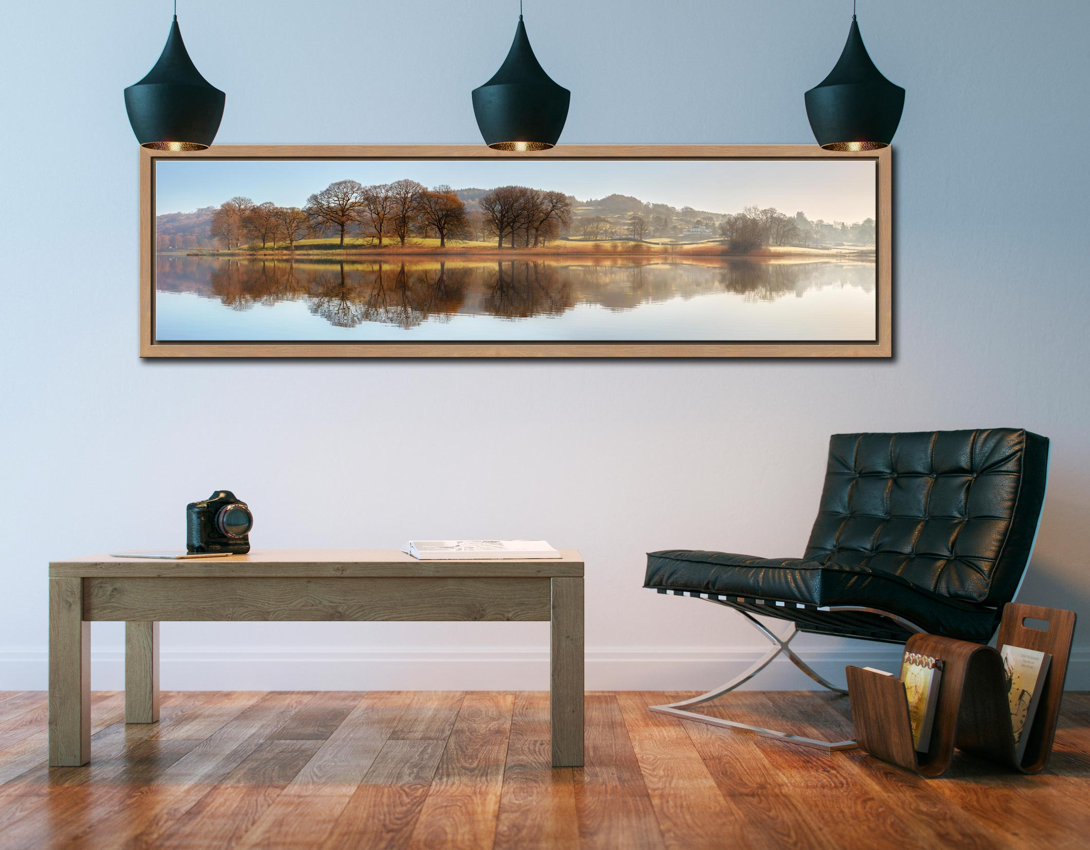 Misty Morning at Esthwaite Water - Oak floater frame with acrylic glazing on Wall