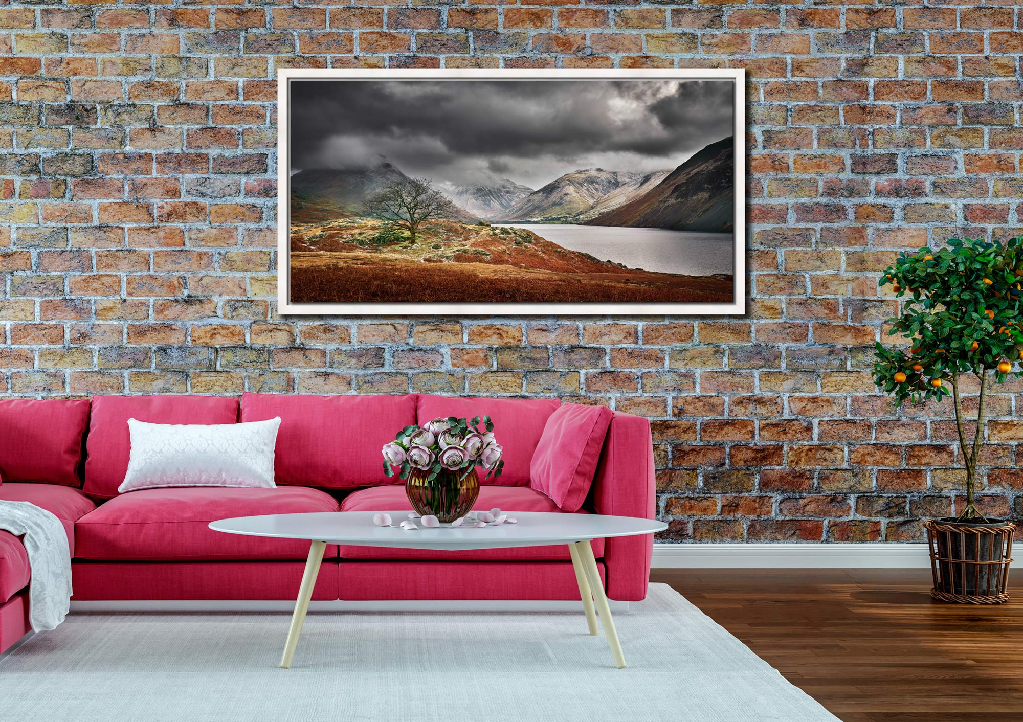 Winter Colours of Wast Water - White Maple floater frame with acrylic glazing on Wall