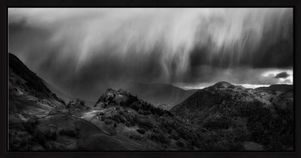 The Rains are a Coming - Black White Framed Print with Mount