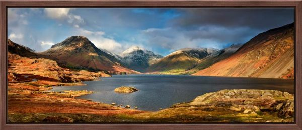 Wast Water Sunlight - Oak floater frame with acrylic glazing
