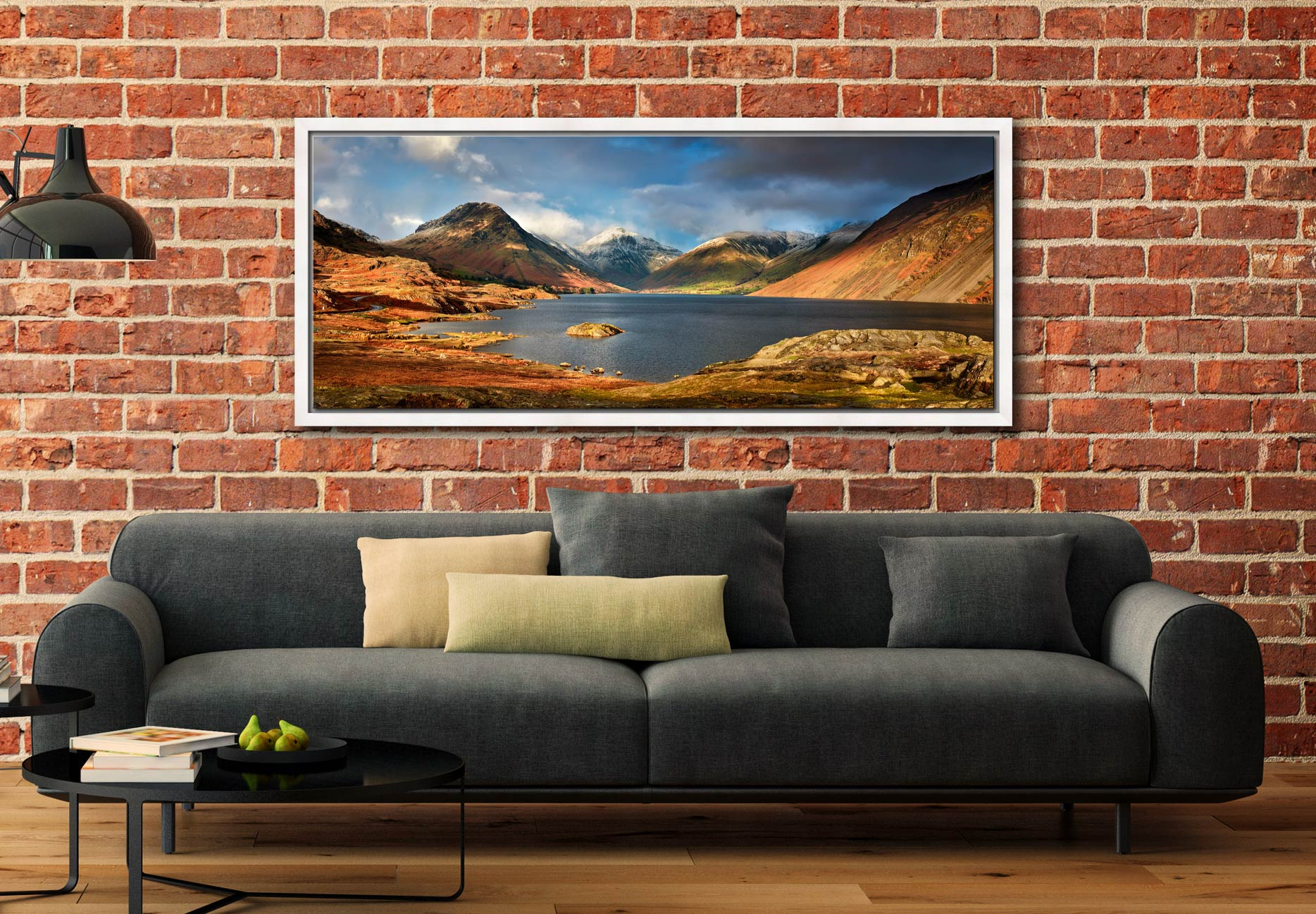 Wast Water Sunlight - White Maple floater frame with acrylic glazing on Wall