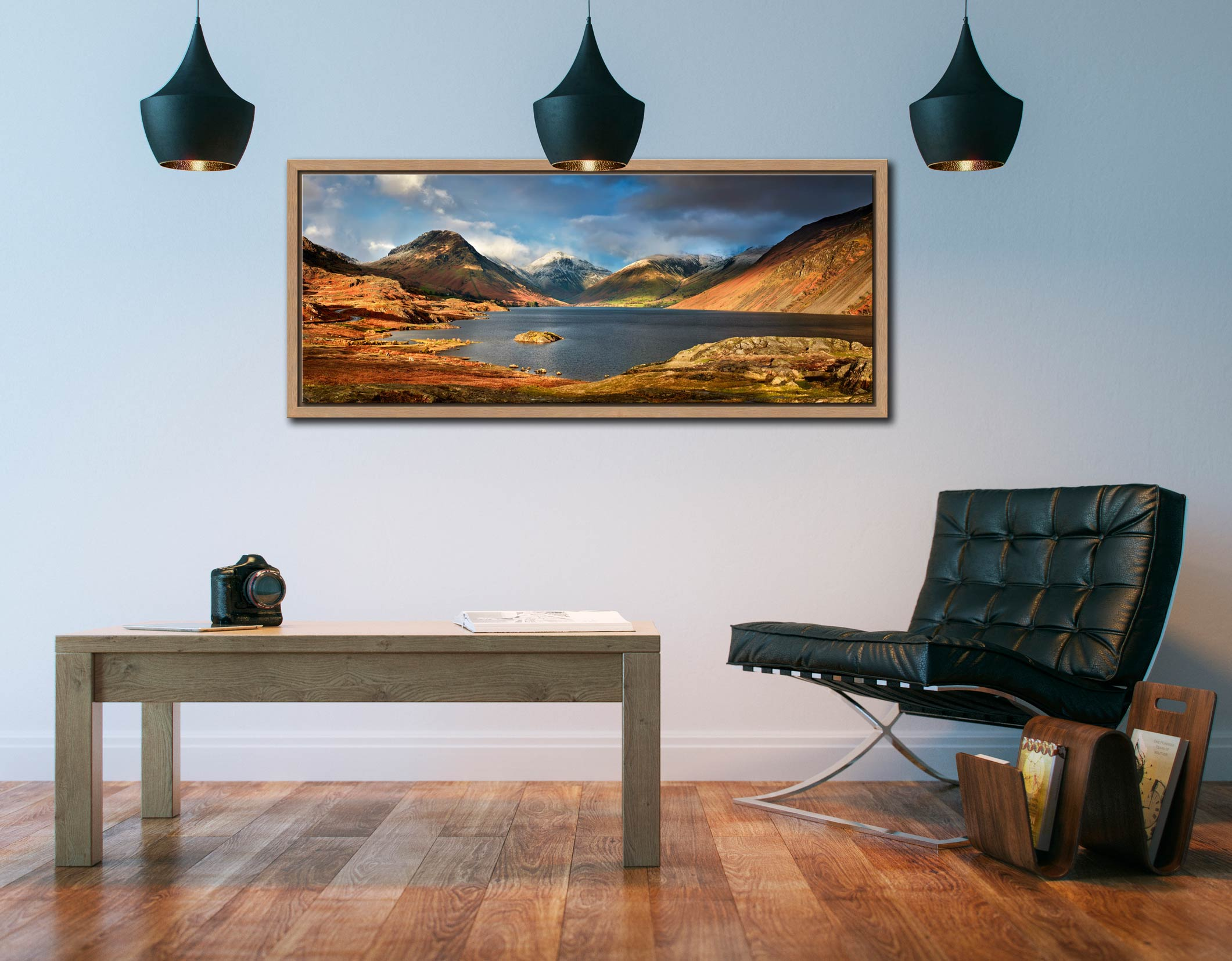 Wast Water Sunlight - Oak floater frame with acrylic glazing on Wall