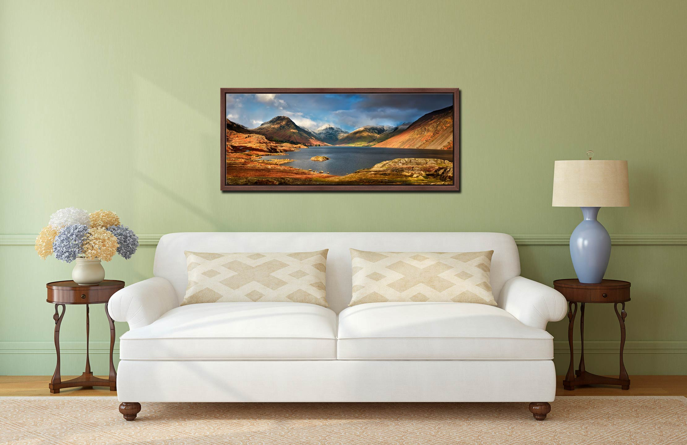 Wast Water Sunlight - Walnut floater frame with acrylic glazing on Wall