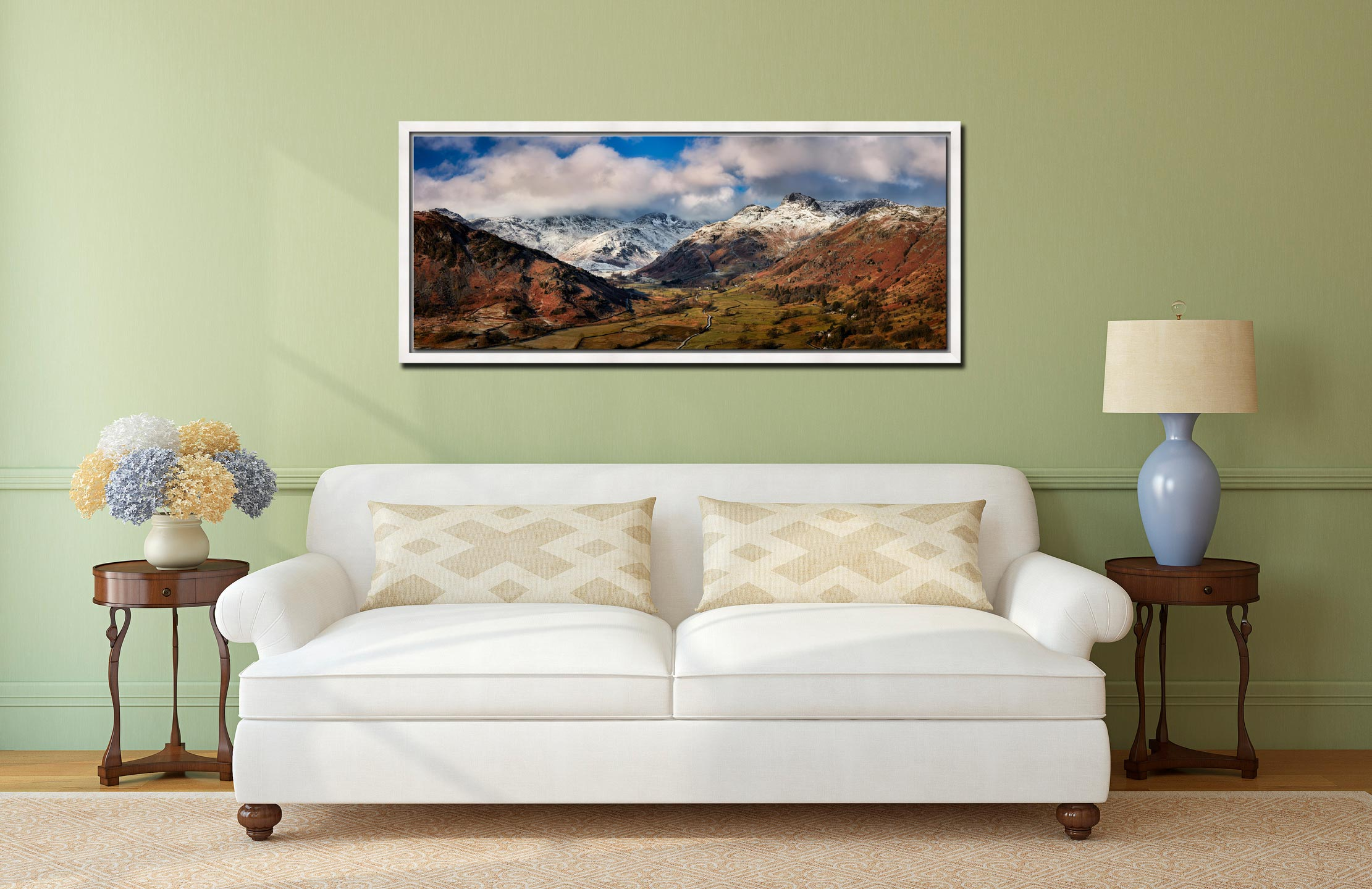 Langdale Valley Winter Panorama - White Maple floater frame with acrylic glazing on Wall