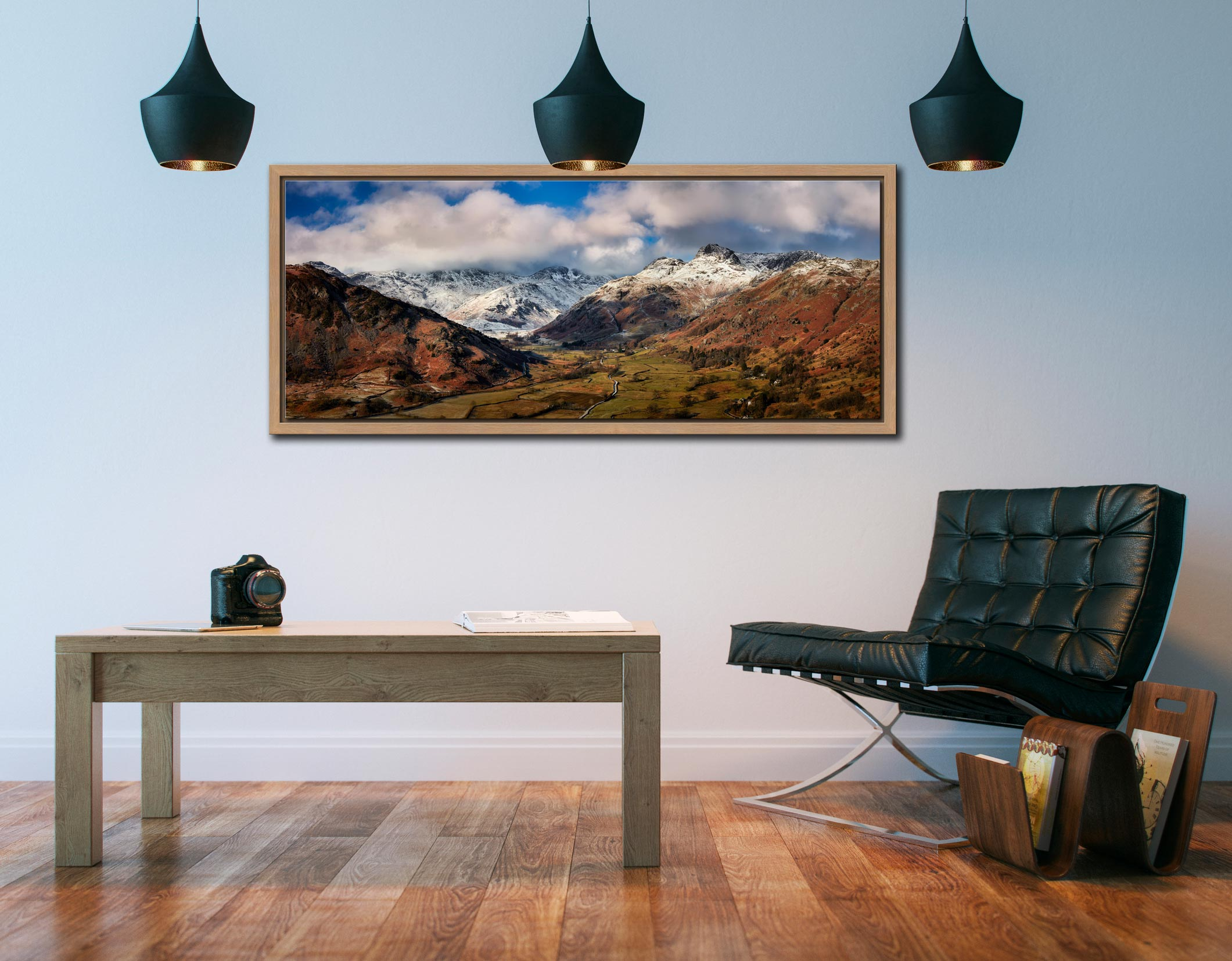 Langdale Valley Winter Panorama - Oak floater frame with acrylic glazing on Wall