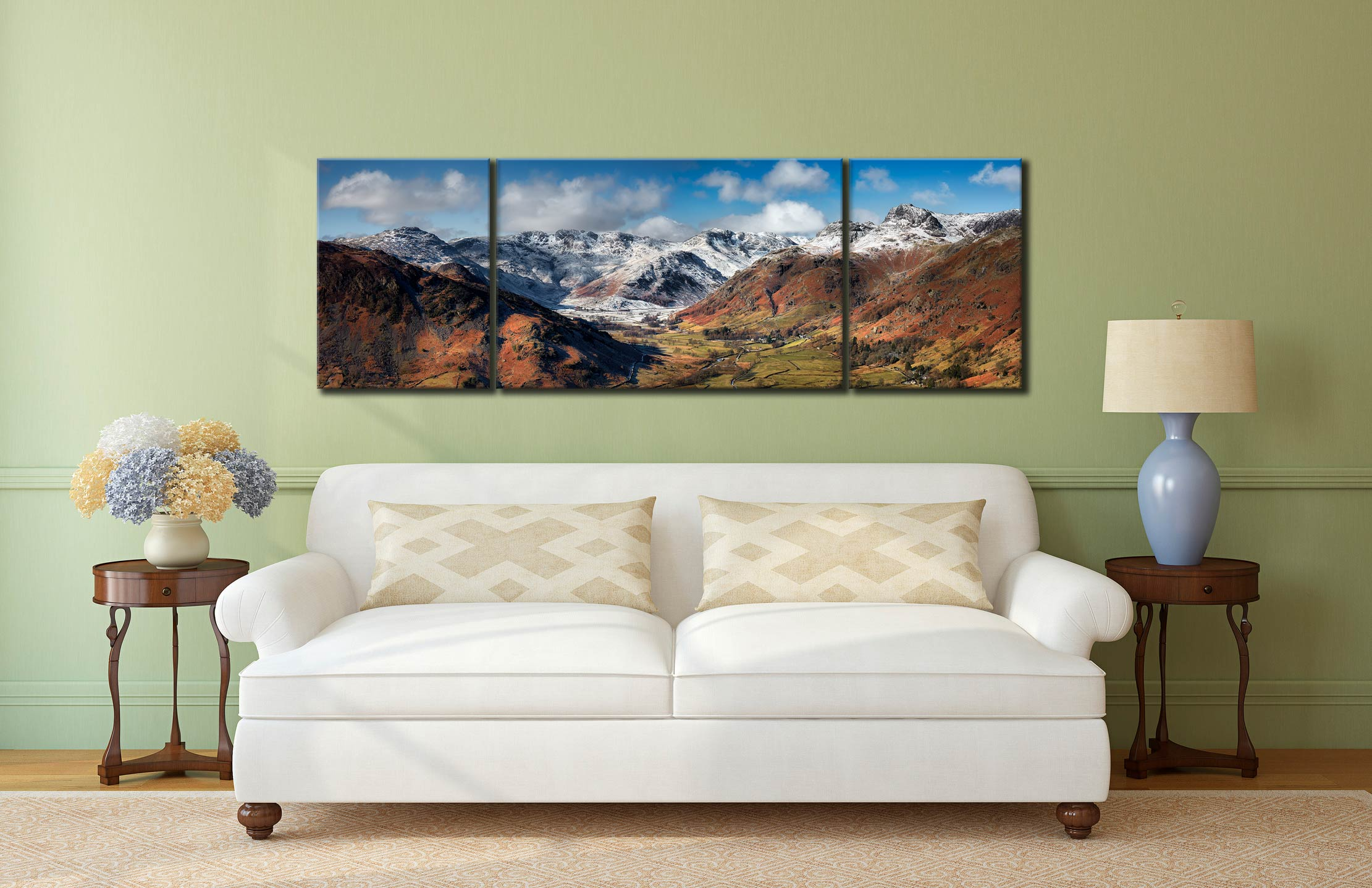 Great Langdale Valley in Winter - 3 Panel Wide Mid Canvas on Wall