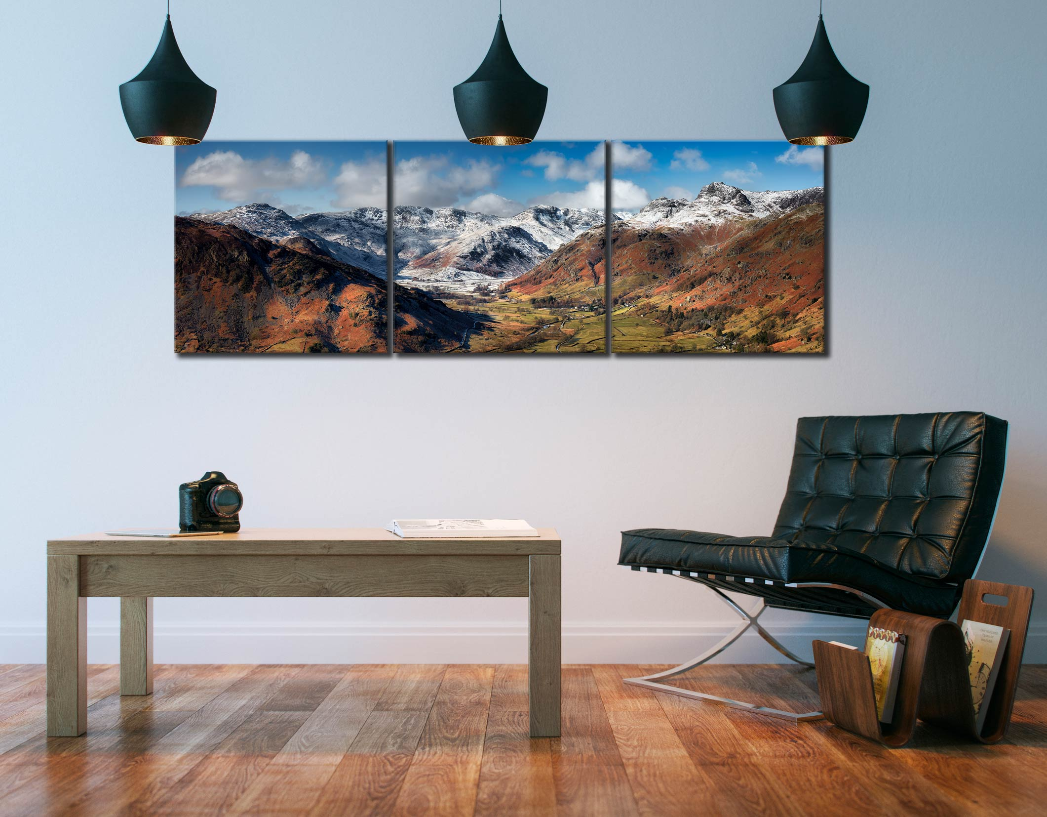 Great Langdale Valley in Winter - 3 Panel Canvas on Wall