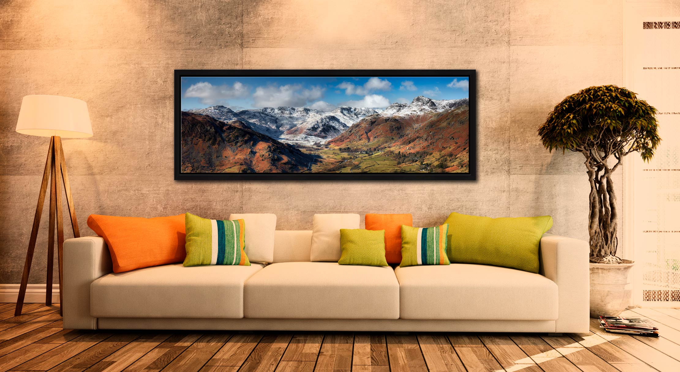 View down the Great Langdale Valley to the snow cover Crinkle Crags and Langdale Pikes - Black oak floater frame with acrylic glazing on Wall