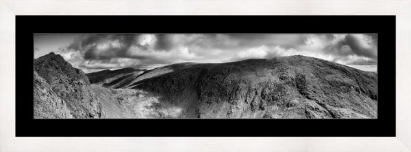 Dow Crag and Old Man Coniston - Black White Framed Print with Mount