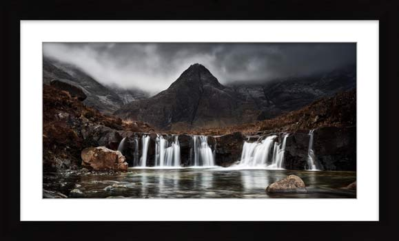 Fairy Pools Waterfall - Framed Print with Mount