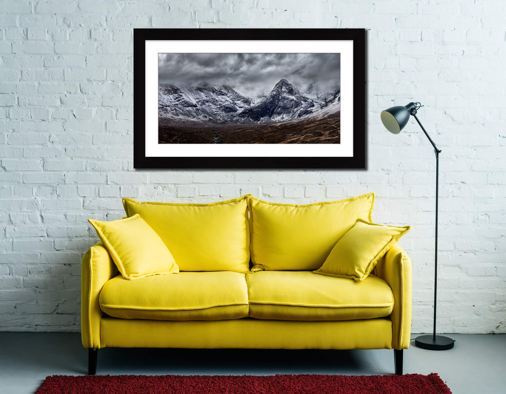 Black Cuillins Snow Fall - Framed Print with Mount on Wall