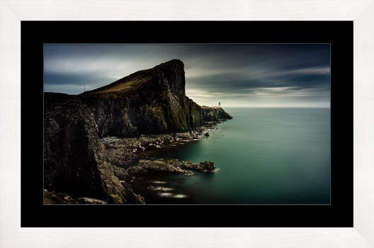 Neist Point Lighthouse Green - Framed Print with Mount
