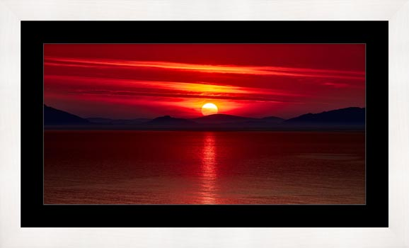 Red Sunset Over Outer Hebrides - Framed Print with Mount