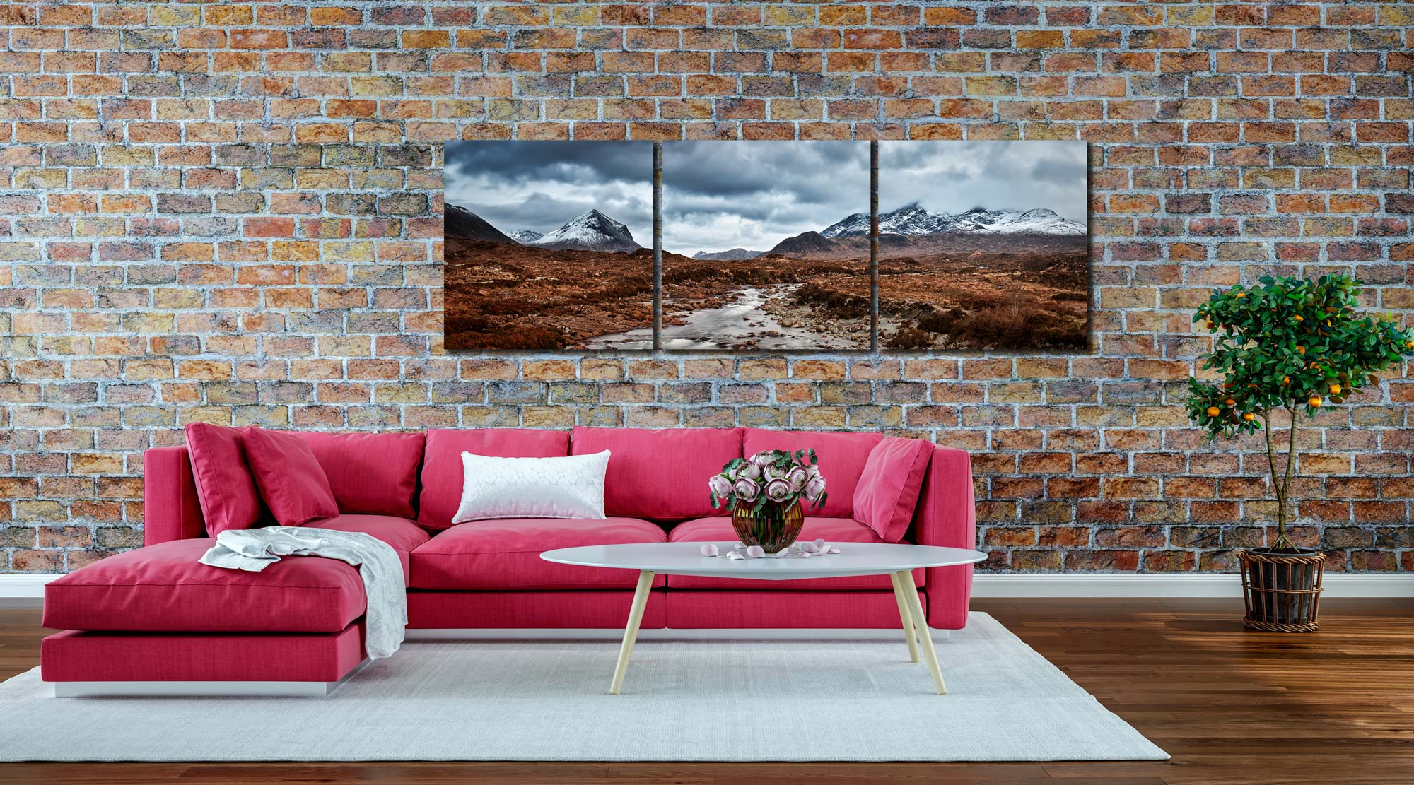 Glen Sligachan Panorama - 3 Panel Canvas on Wall