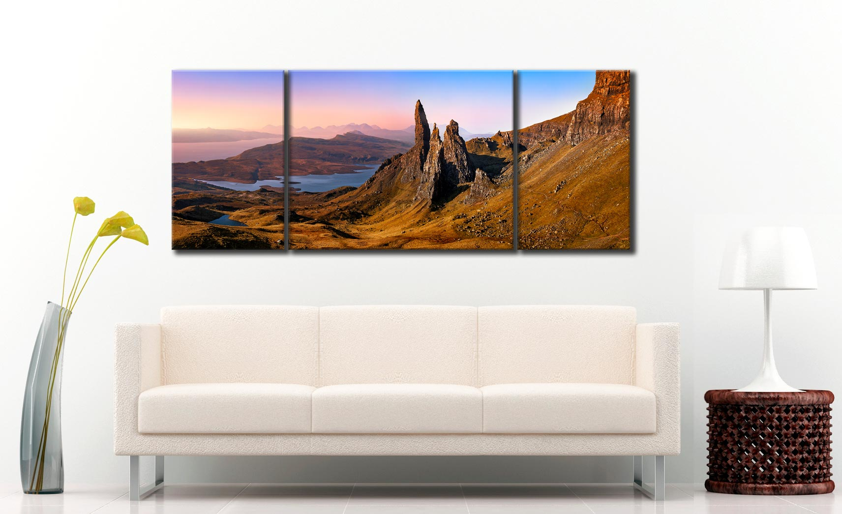 Old Man Storr Golden Light - 3 Panel Wide Mid Canvas on Wall