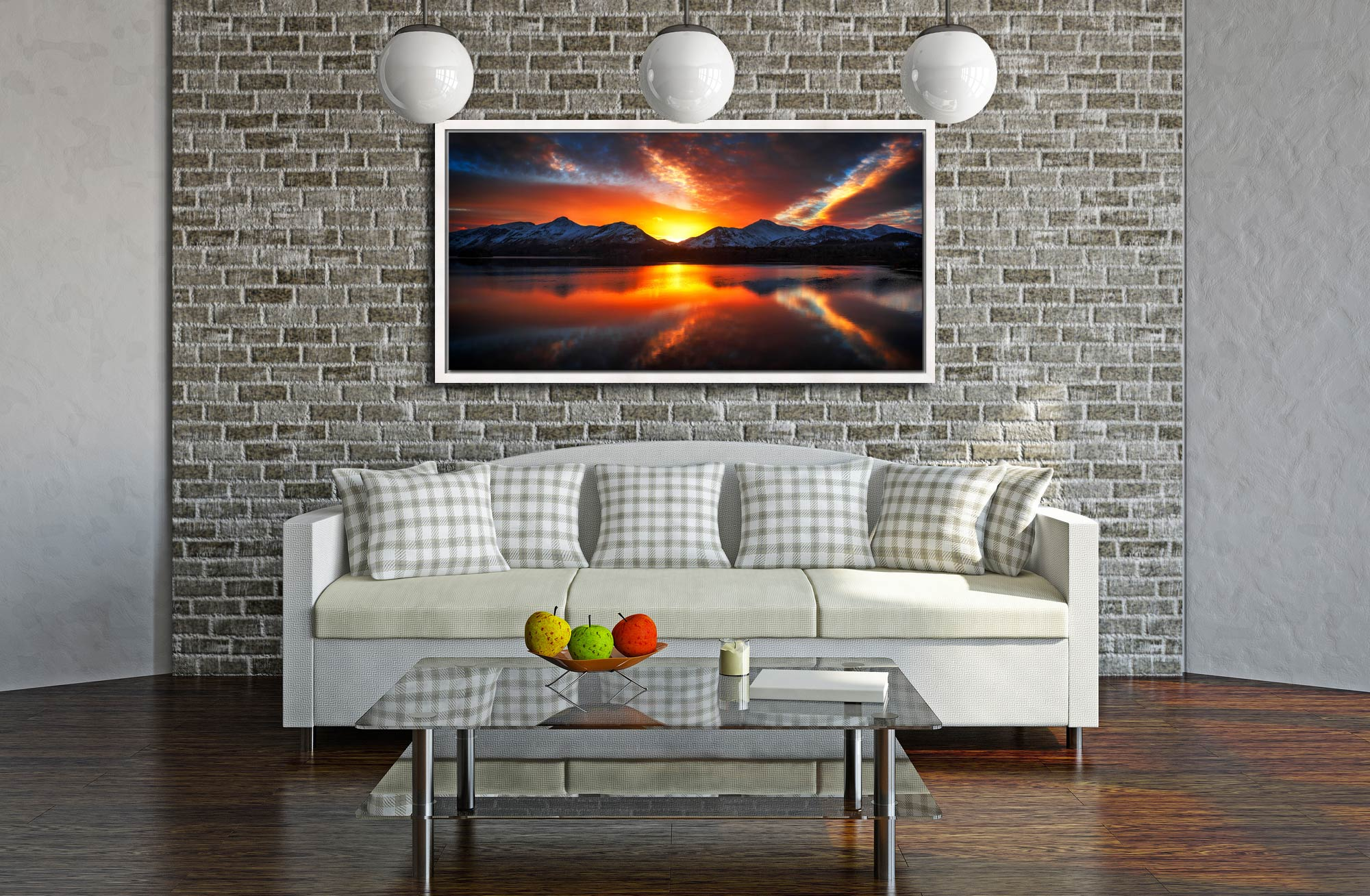 Winter Sunset Over Derwent Water - White Maple floater frame with acrylic glazing on Wall