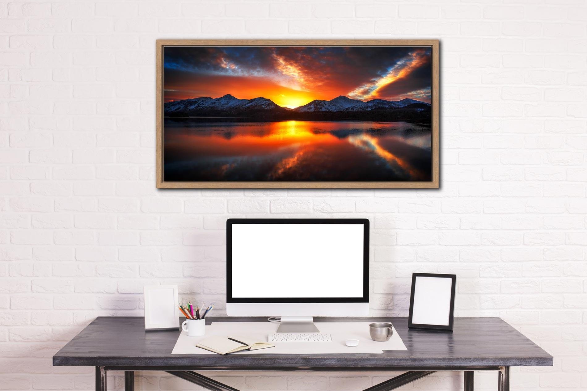 Winter Sunset Over Derwent Water - Oak floater frame with acrylic glazing on Wall