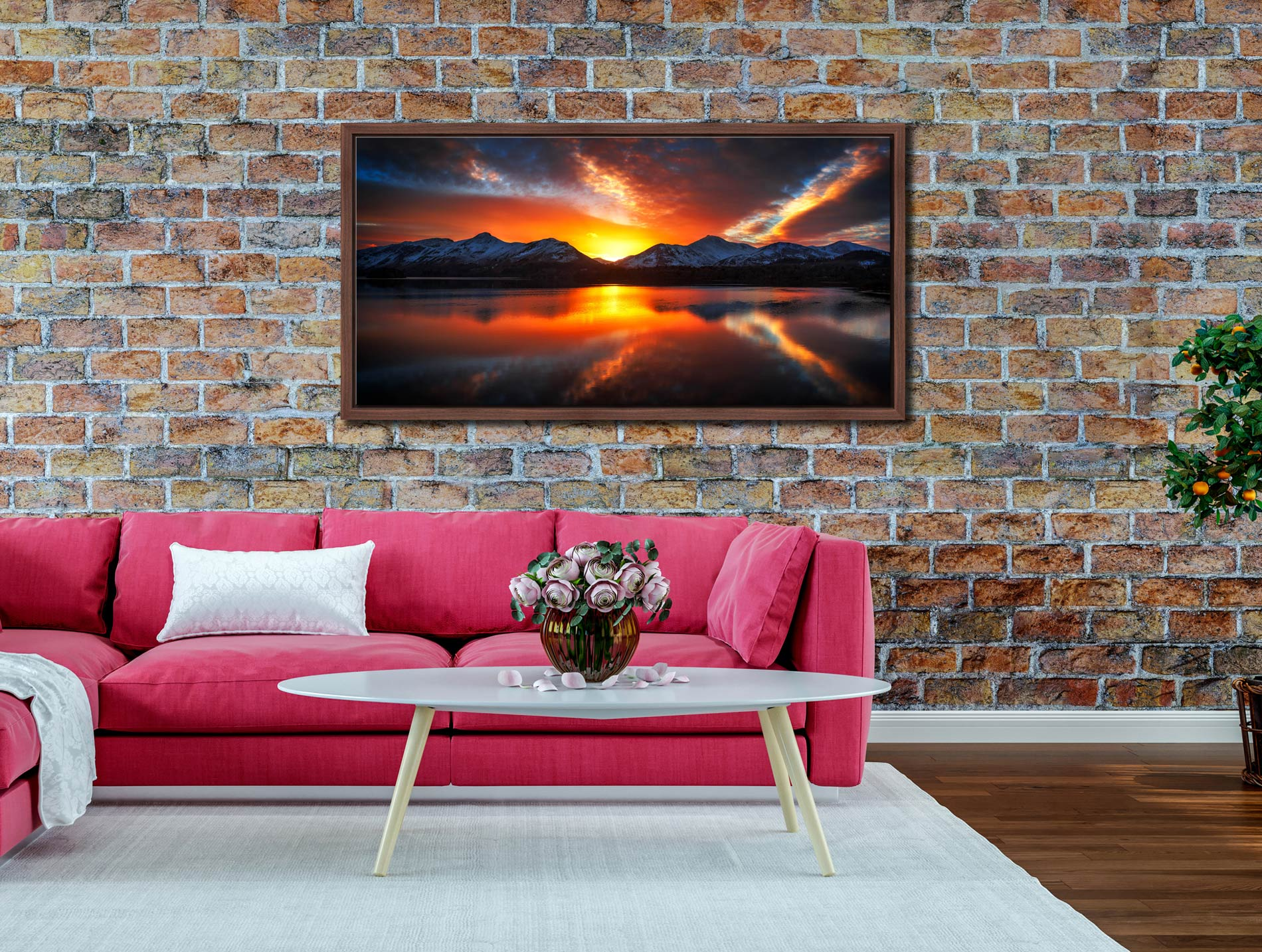 Winter Sunset Over Derwent Water - Walnut floater frame with acrylic glazing on Wall