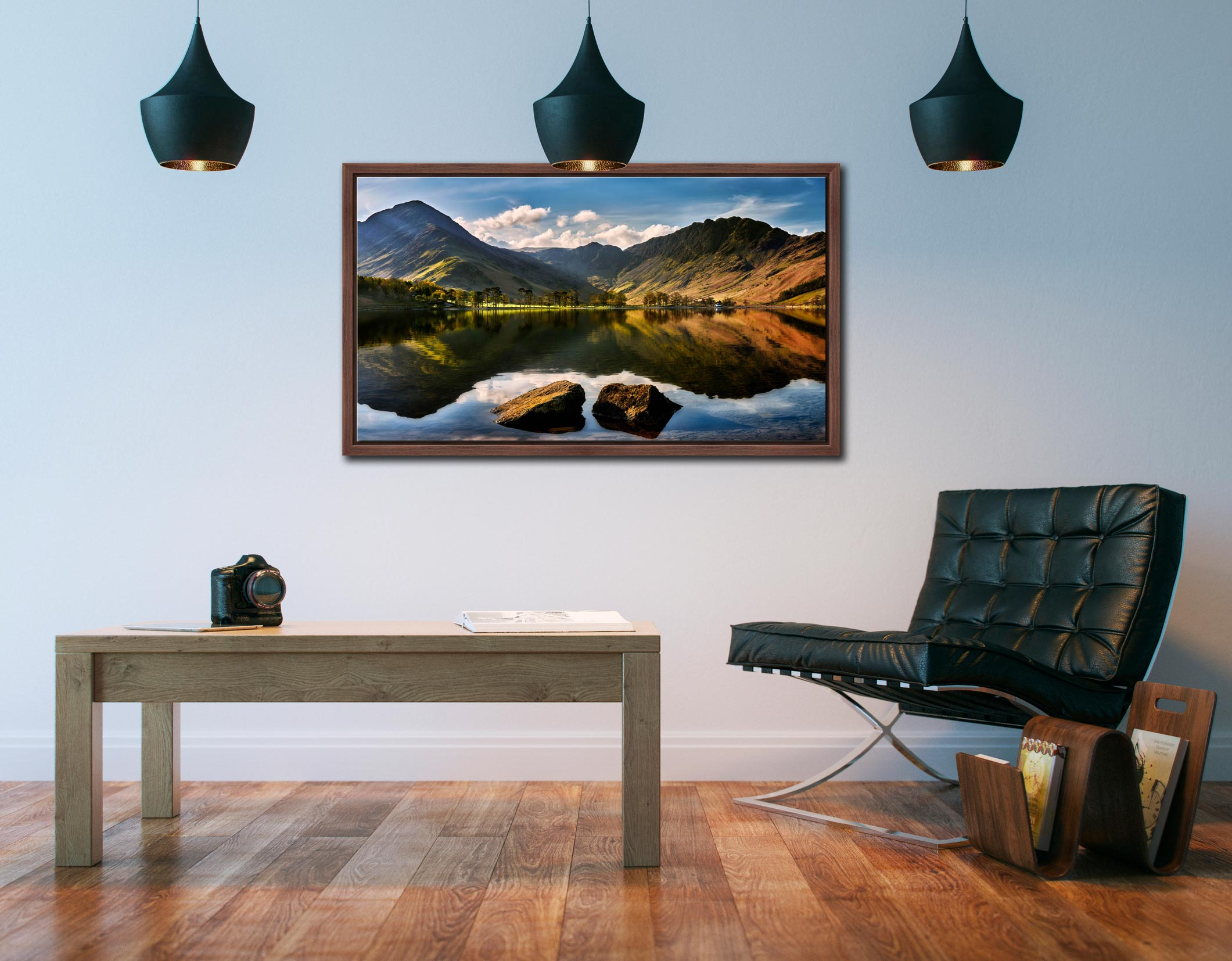 Beautiful Buttermere - Walnut floater frame with acrylic glazing on Wall