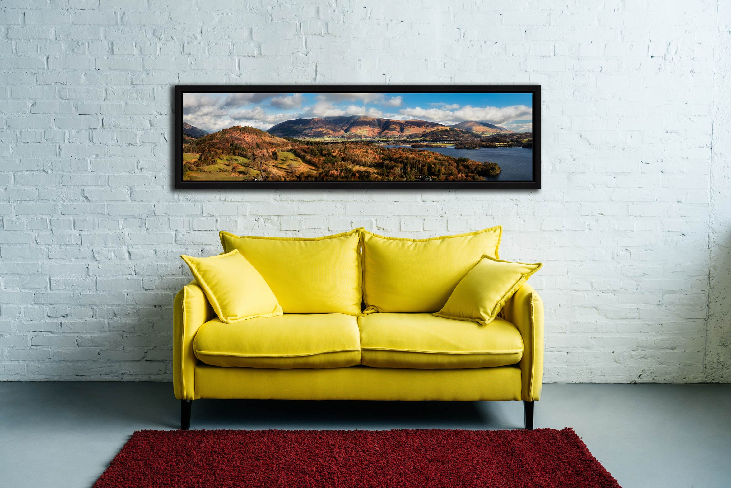 Keswick and Skiddaw Panorama - Black oak floater frame with acrylic glazing on Wall