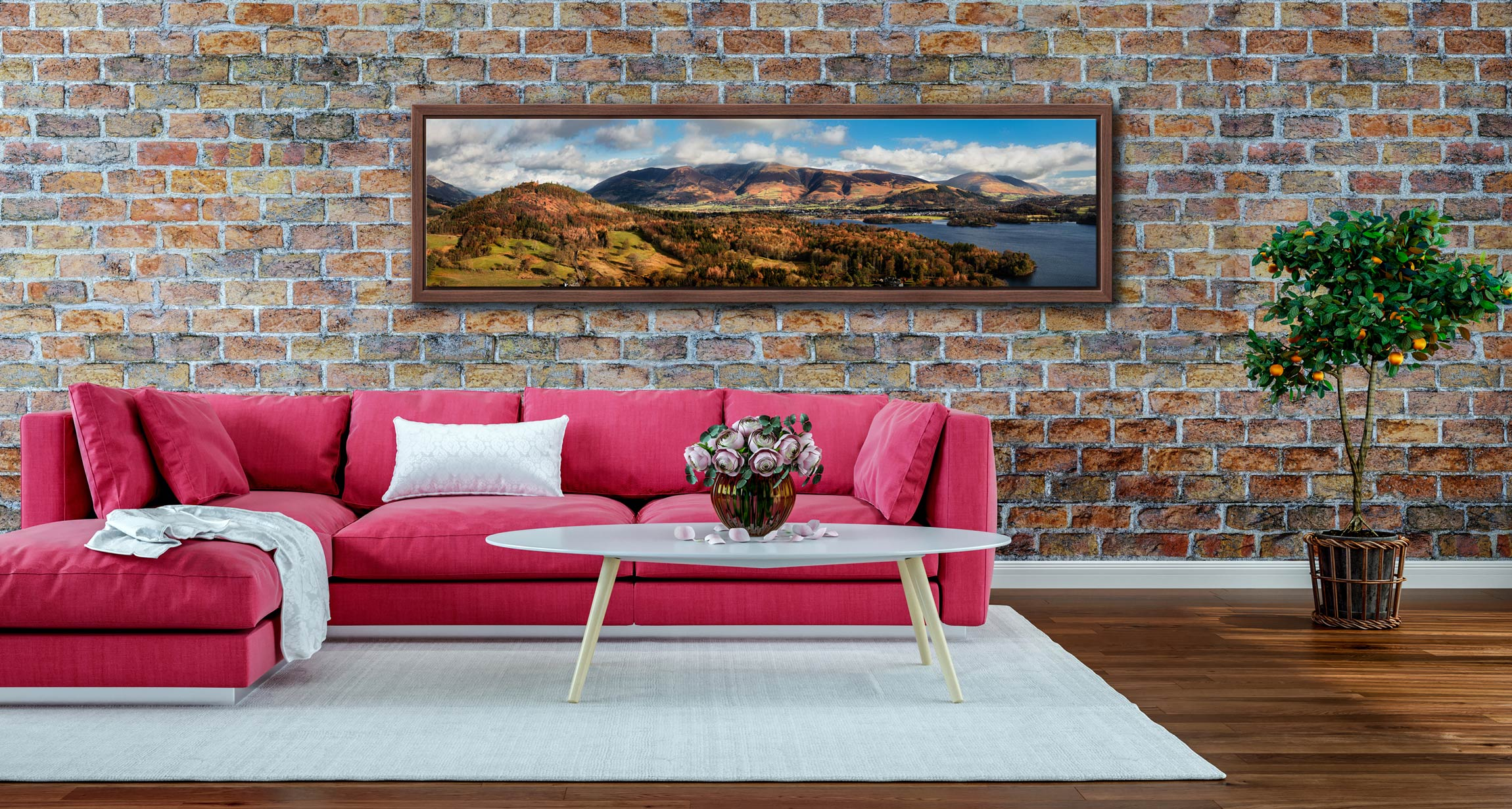 Keswick and Skiddaw Panorama - Walnut floater frame with acrylic glazing on Wall