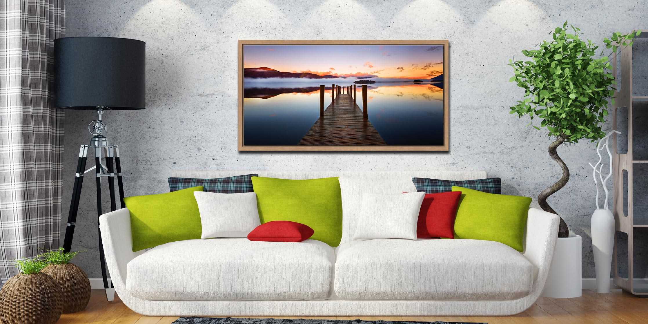 Ashness Jetty Dawn - Oak floater frame with acrylic glazing on Wall