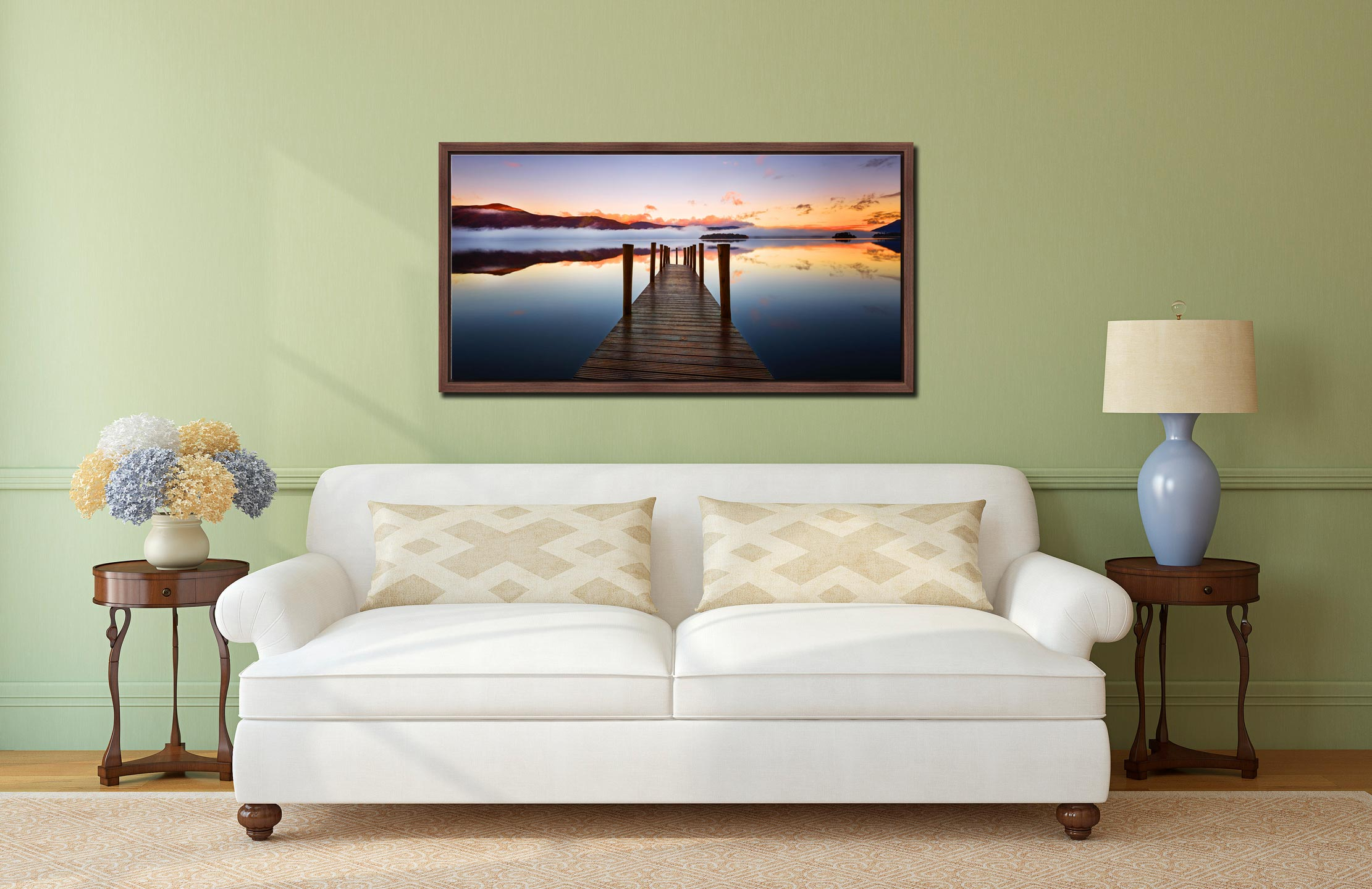 Ashness Jetty Dawn - Walnut floater frame with acrylic glazing on Wall
