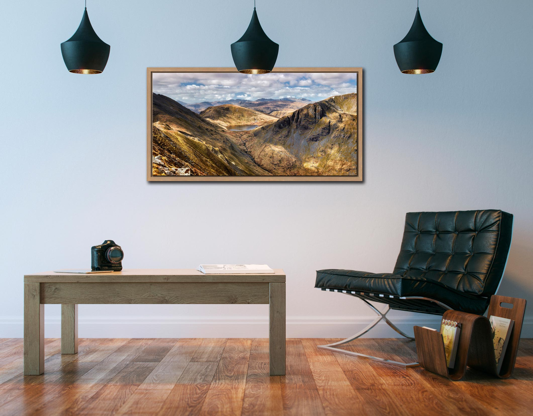 Grisedale Tarn Panorama - Oak floater frame with acrylic glazing on Wall