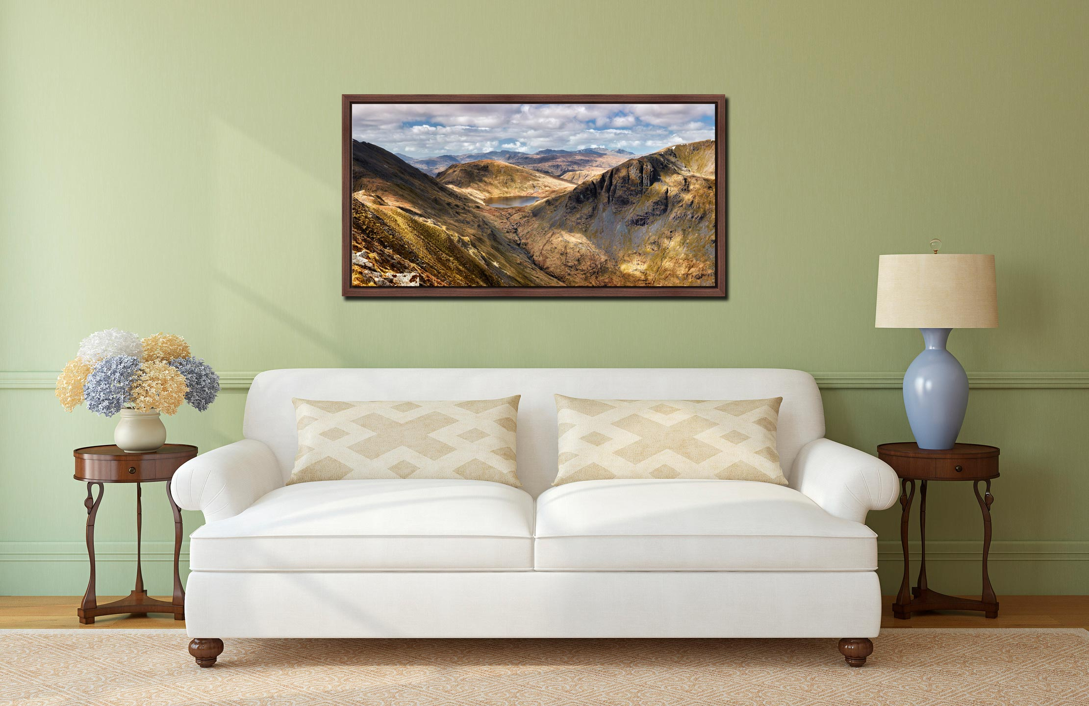 Grisedale Tarn Panorama - Walnut floater frame with acrylic glazing on Wall