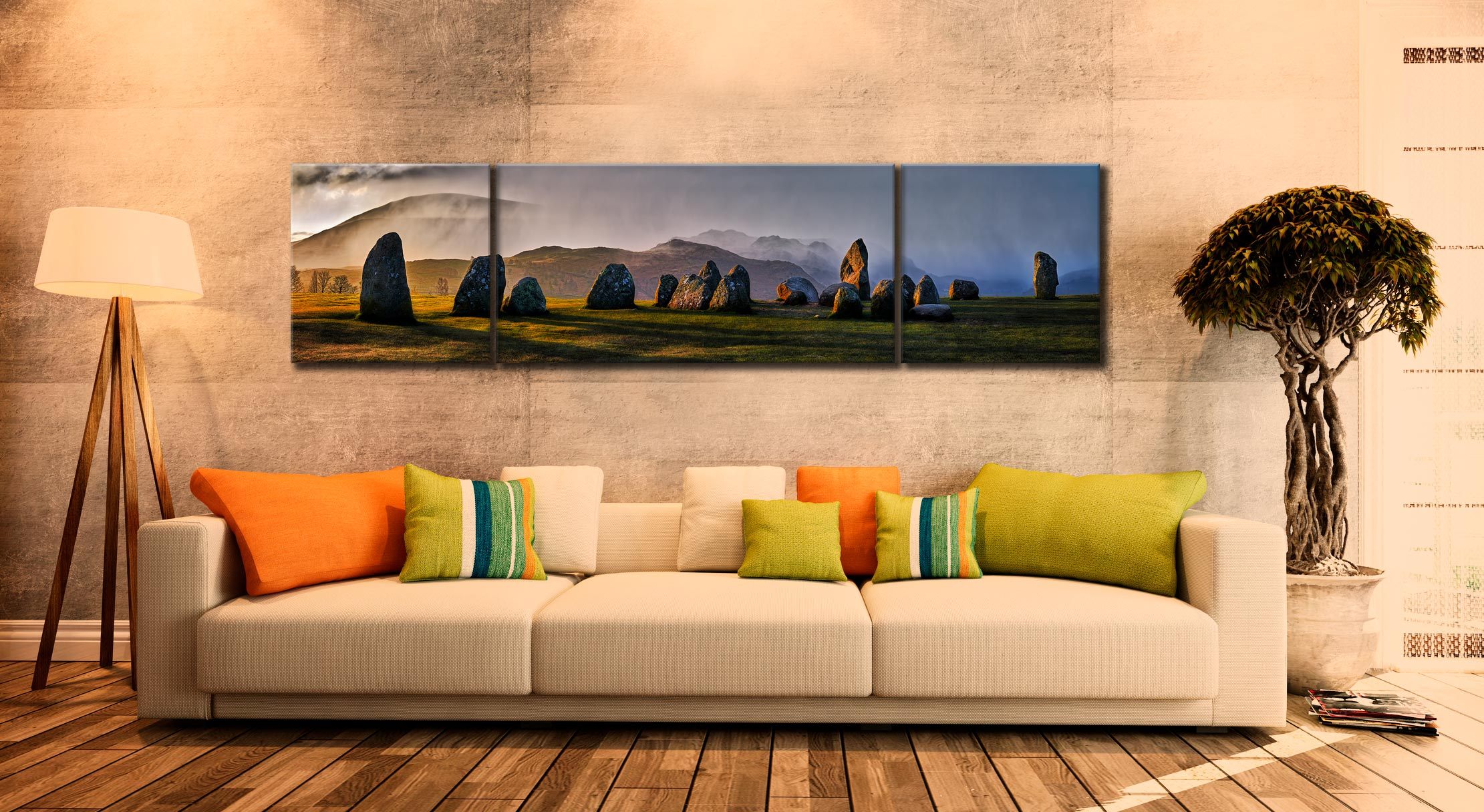 Sunlight and Showers at Castlerigg - 3 Panel Wide Centre Canvas on Wall