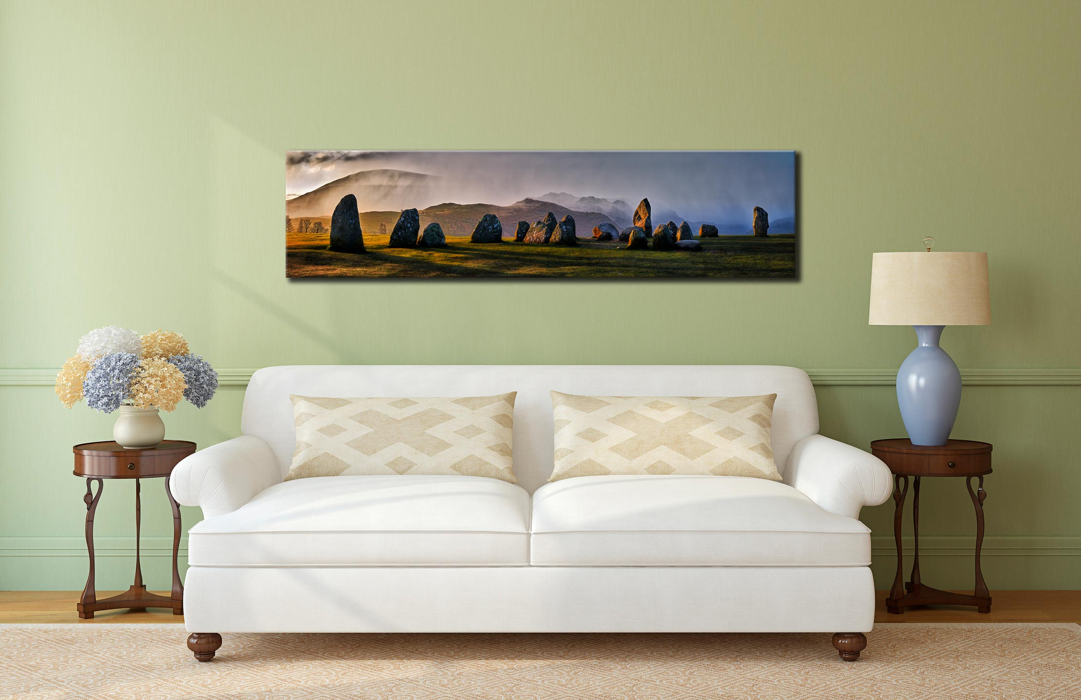 Sunlight and Showers at Castlerigg - Lake District Canvas on Wall