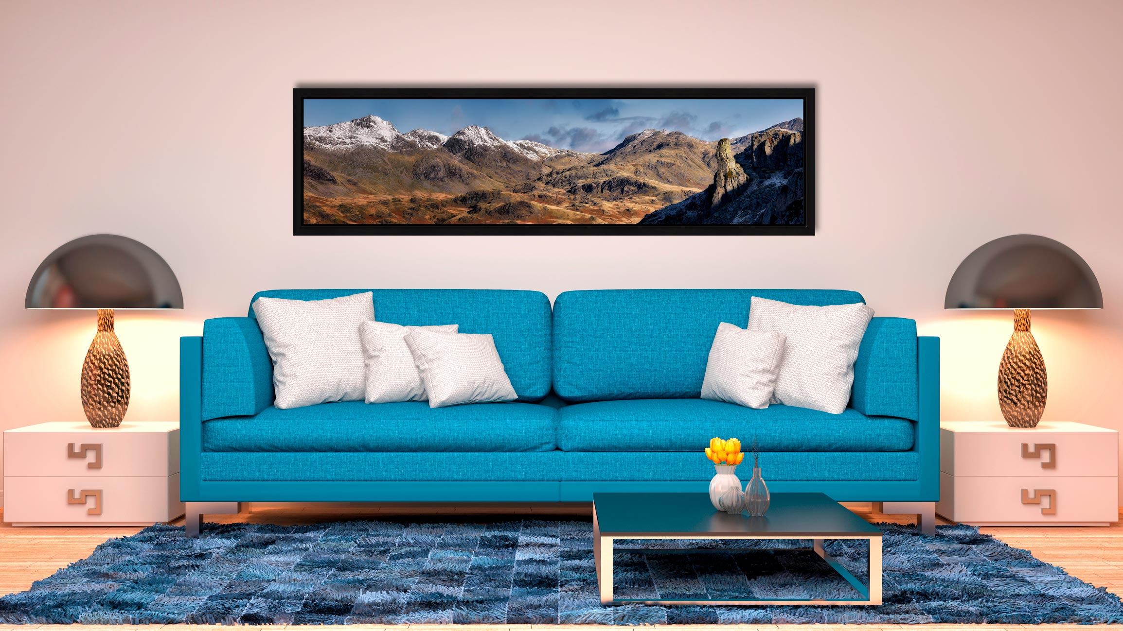 Eskdale Needle and Scafell Panorama - Black oak floater frame with acrylic glazing on Wall