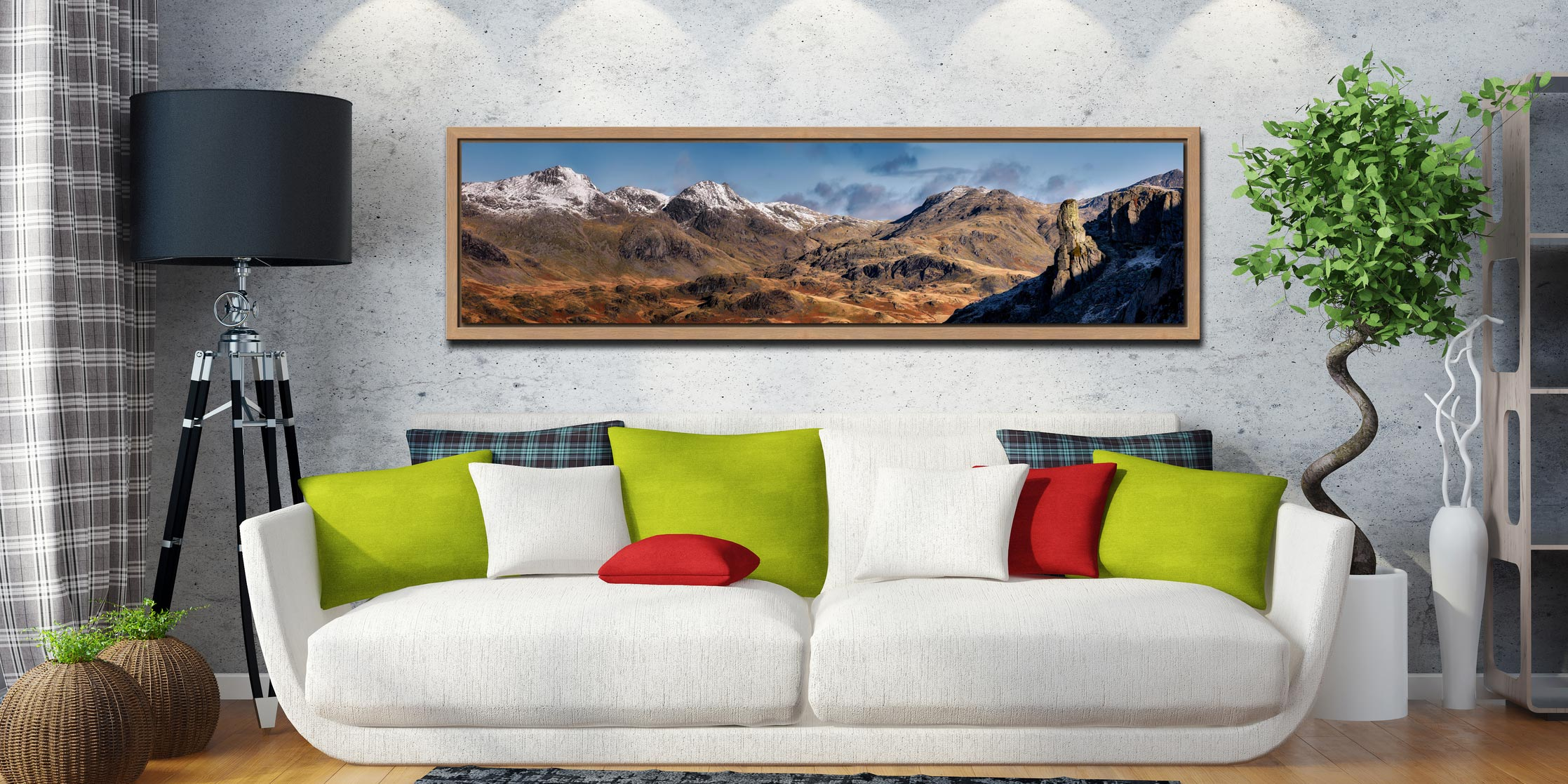 Eskdale Needle and Scafell Panorama - Oak floater frame with acrylic glazing on Wall