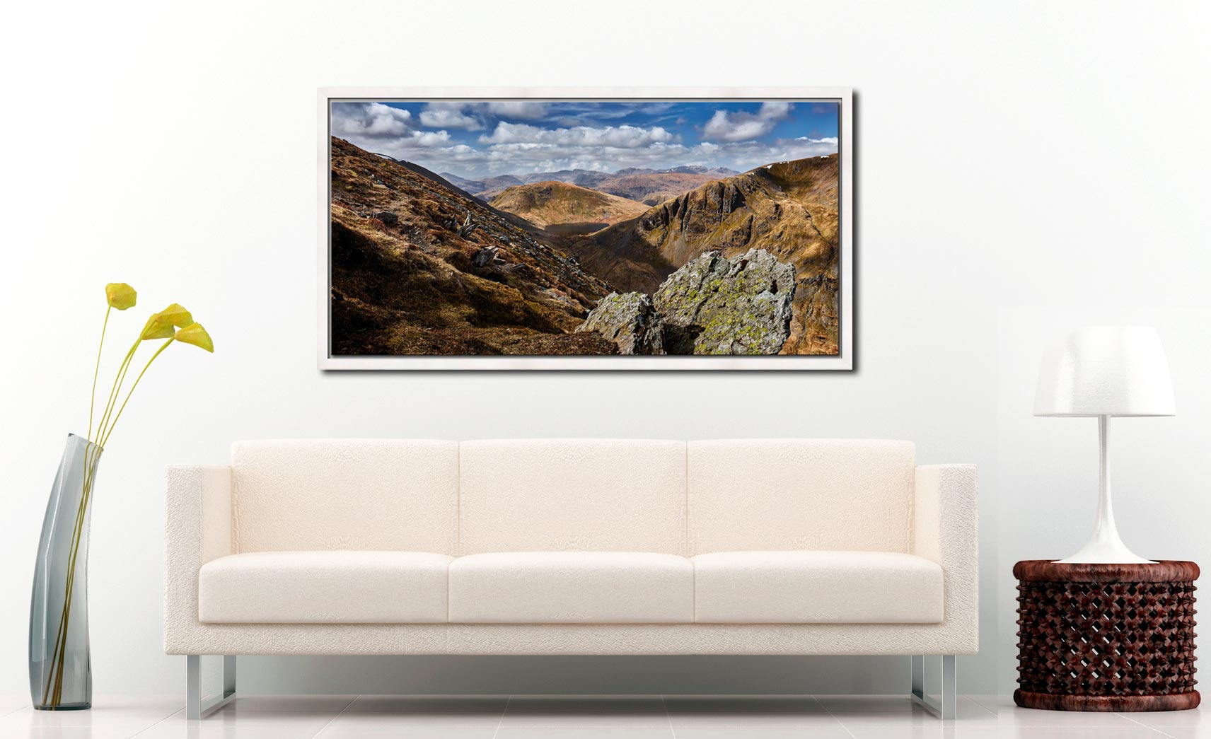 Grisedale Tarn in the Morning Sunshine - White Maple floater frame with acrylic glazing on Wall
