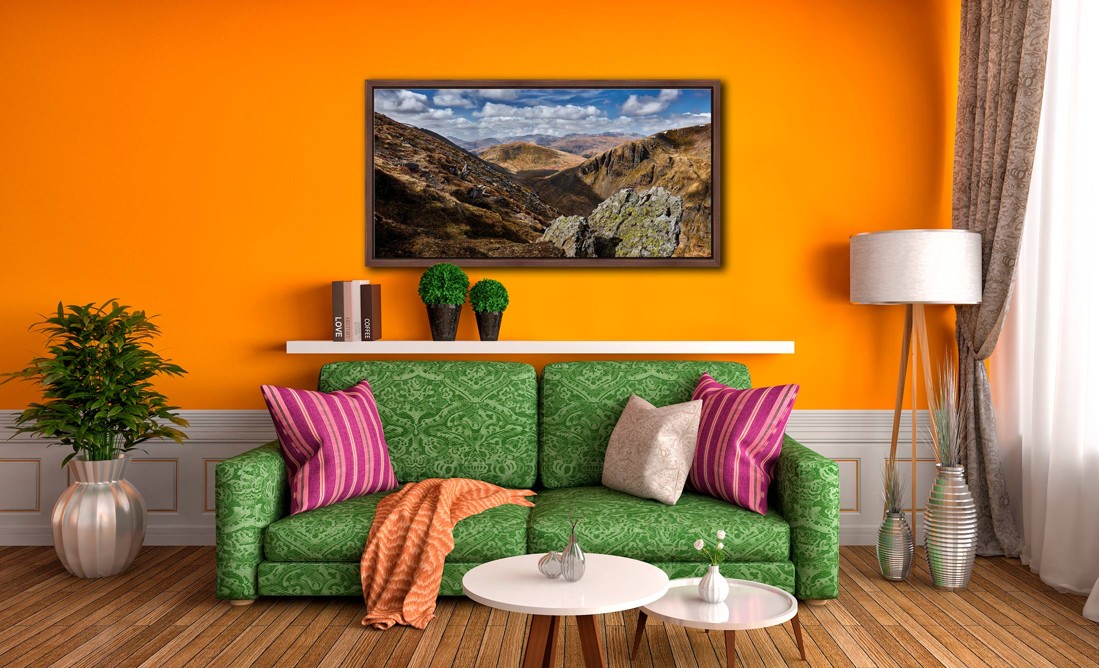 Grisedale Tarn in the Morning Sunshine - Walnut floater frame with acrylic glazing on Wall