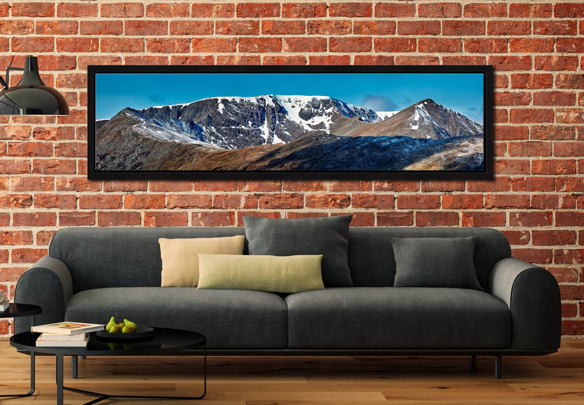 Helvellyn Snow Capped - Black oak floater frame with acrylic glazing on Wall
