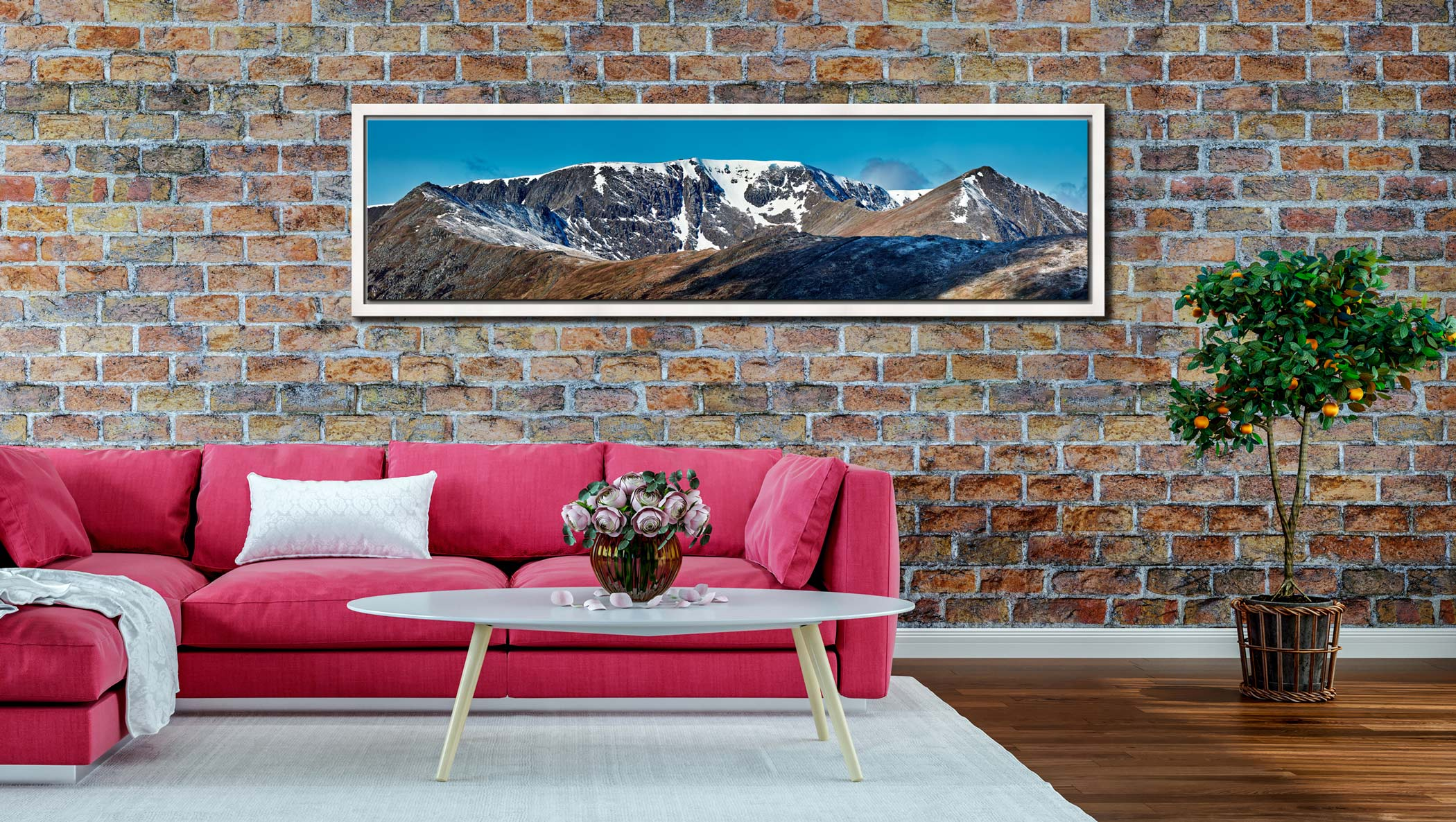 Helvellyn Snow Capped - White Maple floater frame with acrylic glazing on Wall