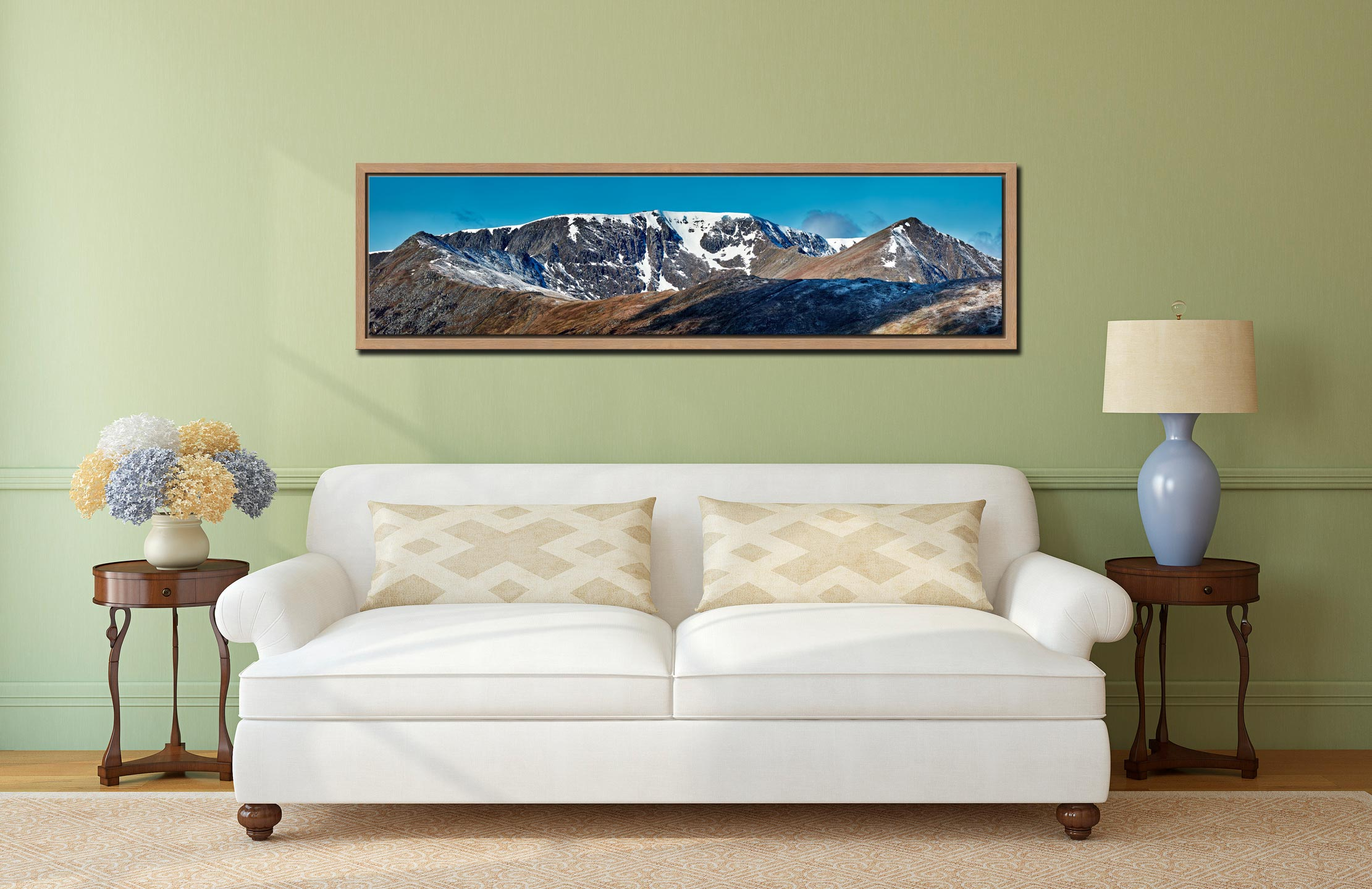Helvellyn Snow Capped - Oak floater frame with acrylic glazing on Wall