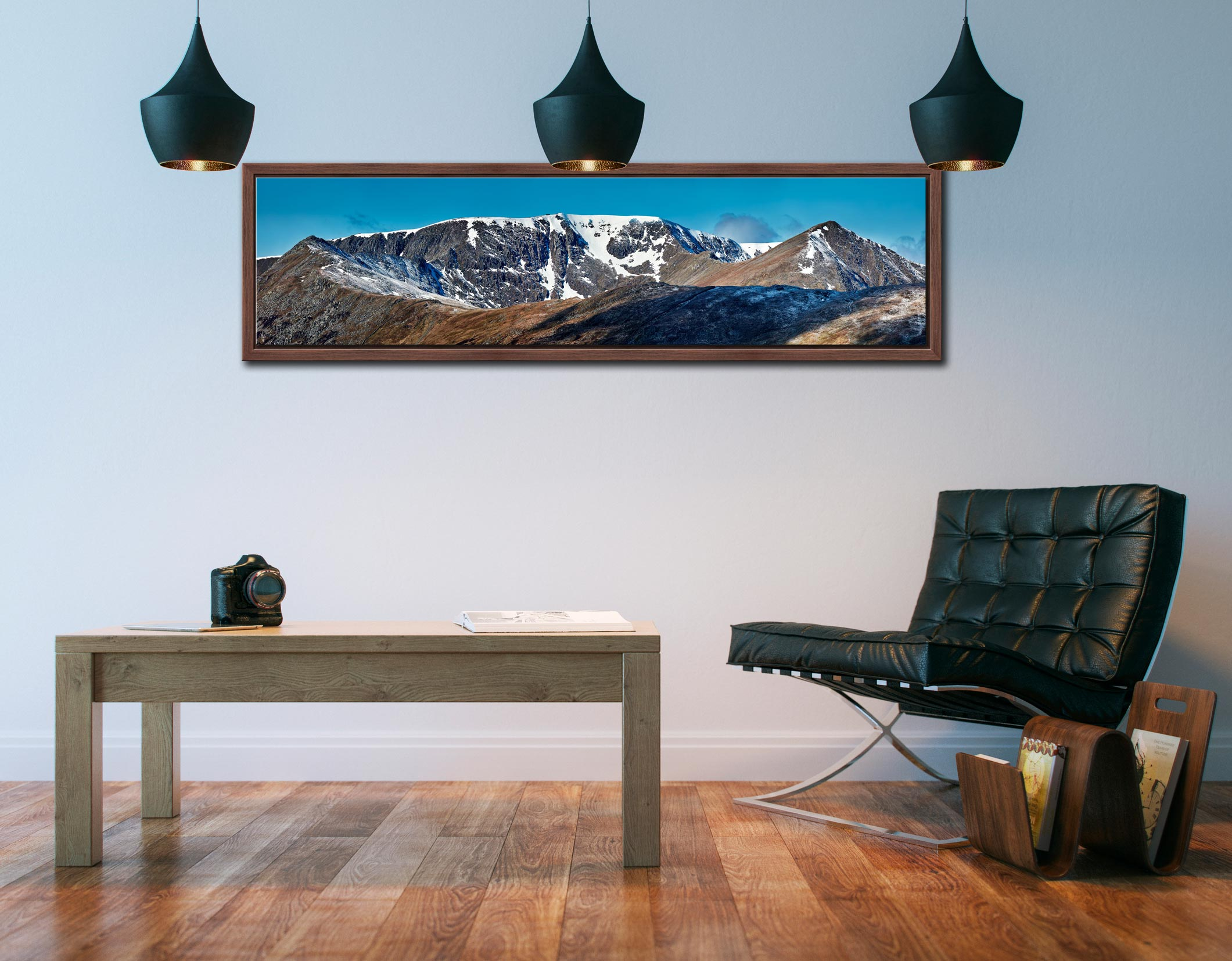 Helvellyn Snow Capped - Walnut floater frame with acrylic glazing on Wall