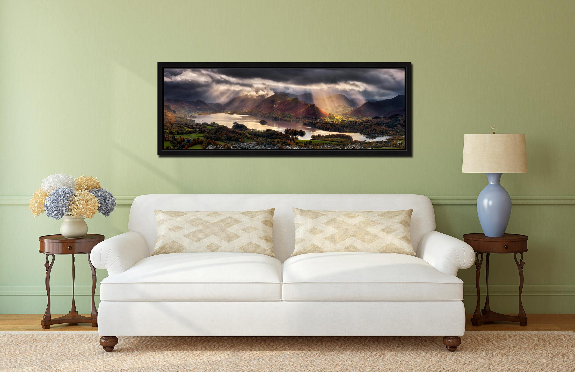 Sunbeams and shadows moving over the fells around Derwent Water - Black oak floater frame with acrylic glazing on Wall
