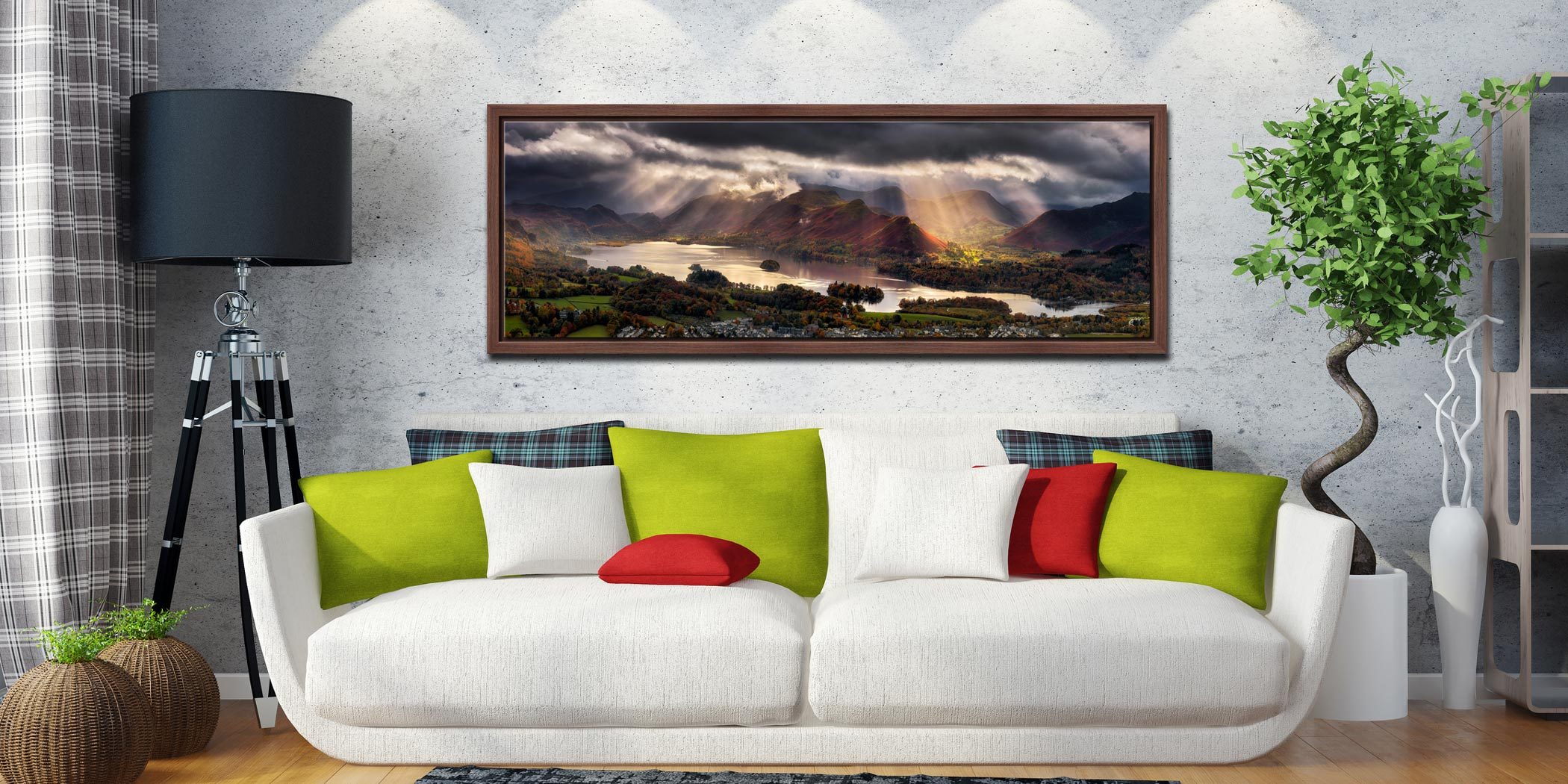 Sunbeams and shadows moving over the fells around Derwent Water - Walnut floater frame with acrylic glazing on Wall