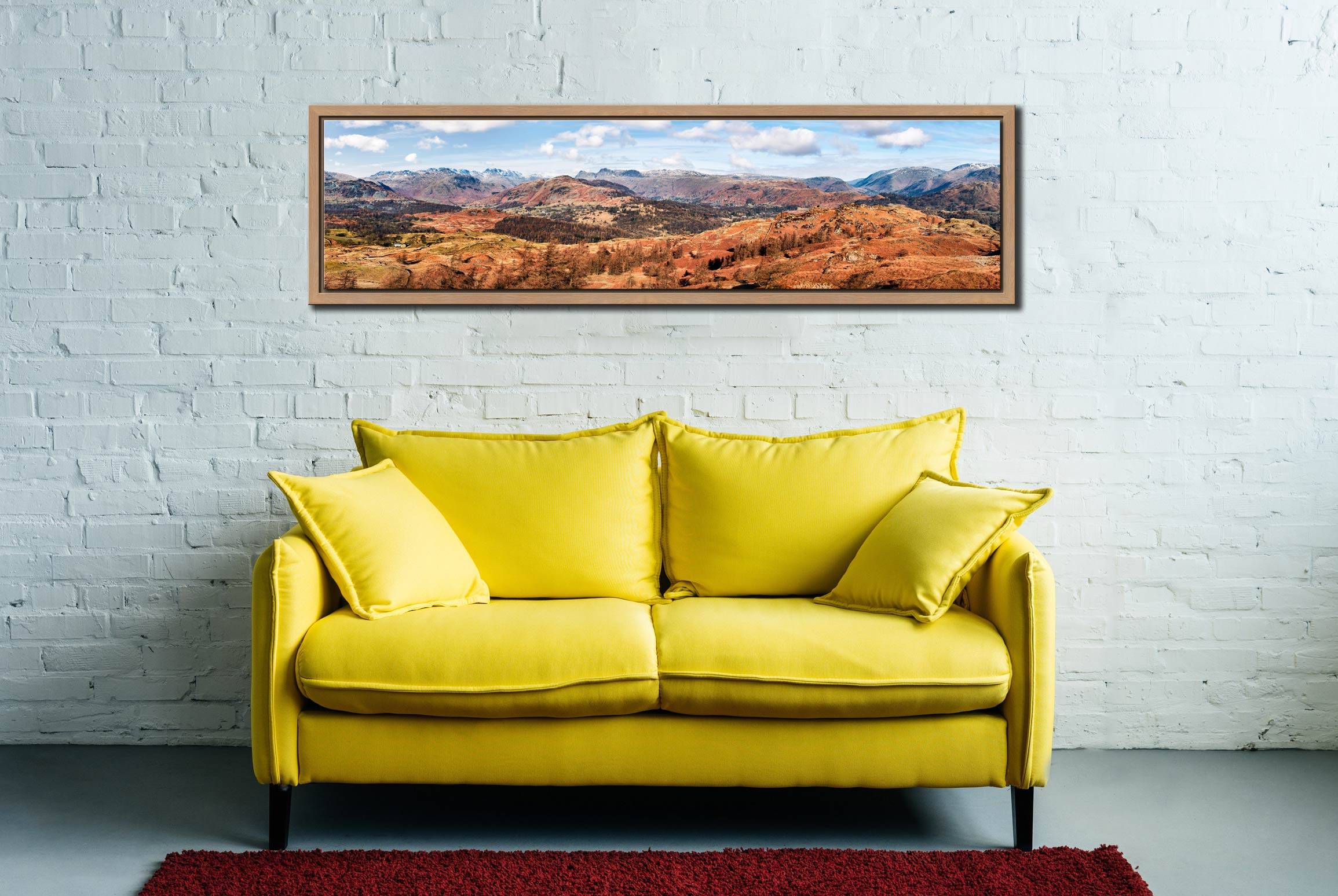The Langdale Mountains - Oak floater frame with acrylic glazing on Wall