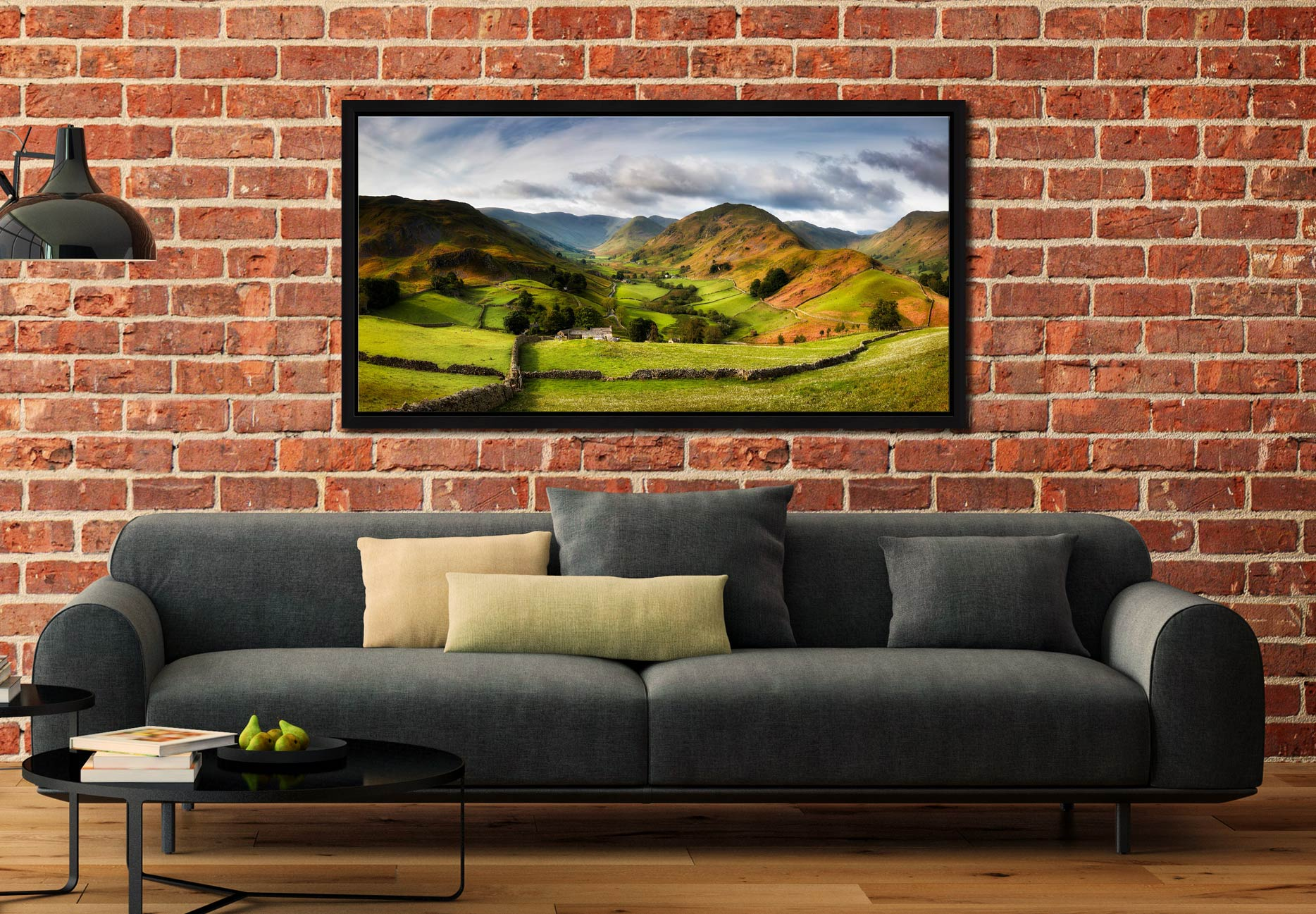 Green Fields of Martindale - Black oak floater frame with acrylic glazing on Wall
