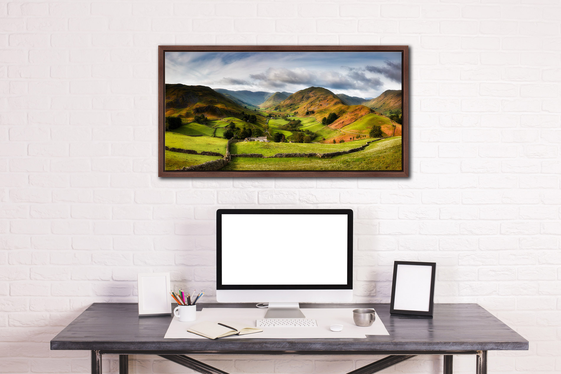 Green Fields of Martindale - Walnut floater frame with acrylic glazing on Wall