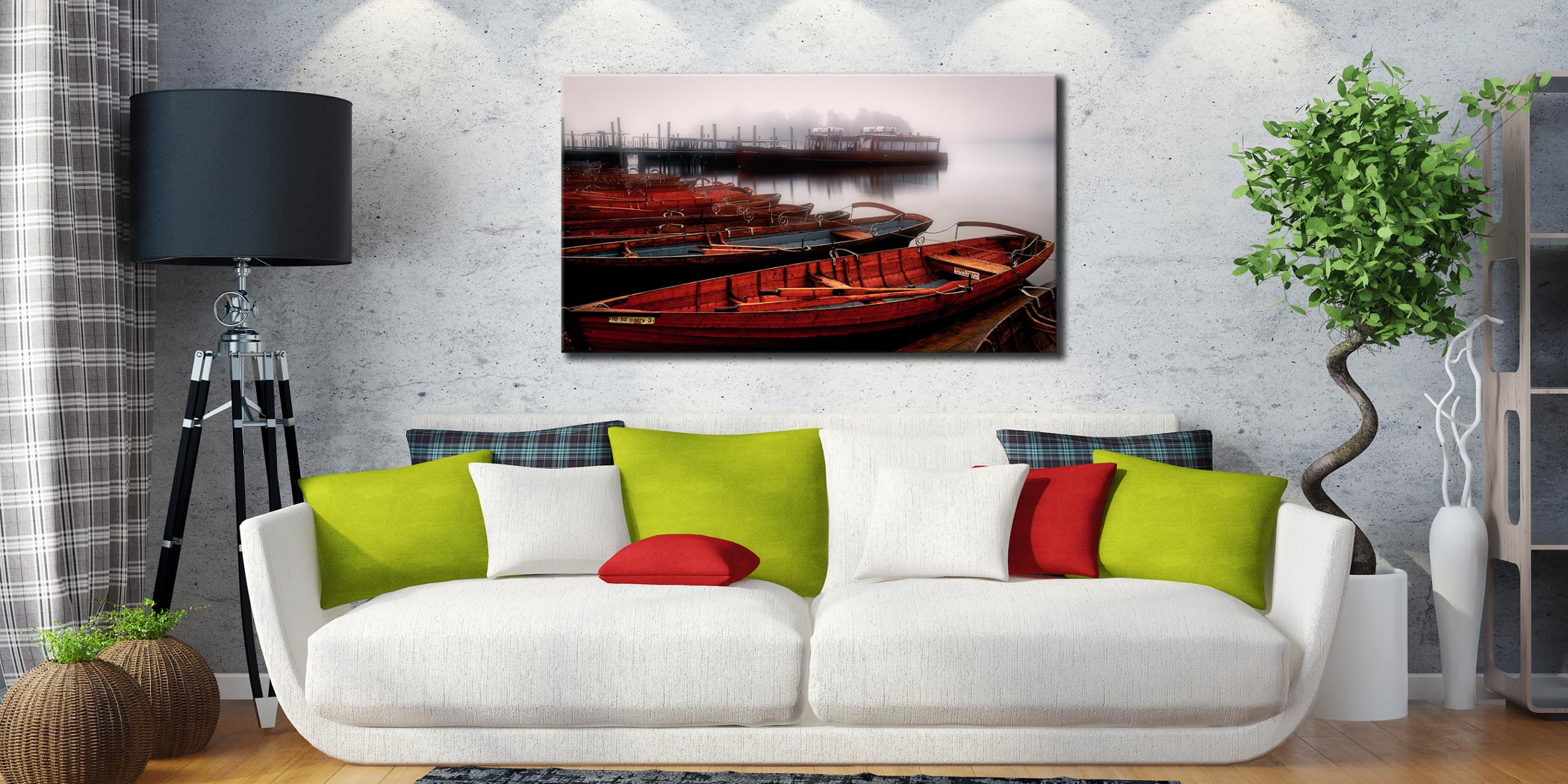 Red Boats in the Mist - Canvas Print on Wall