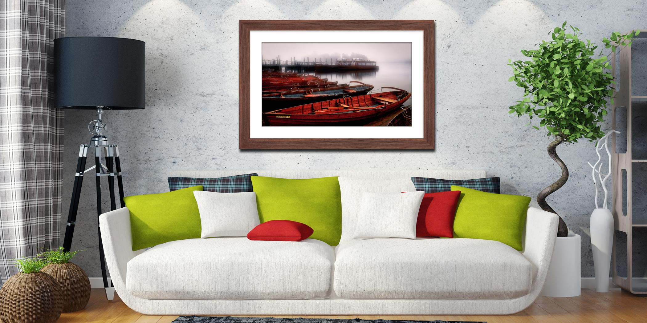 Red Boats in the Mist - Black White Framed Print with Mount on Wall