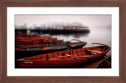 Red Boats in the Mist - Black White Framed Print with Mount