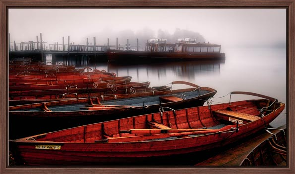 Red Boats in the Mist - Floating Frame
